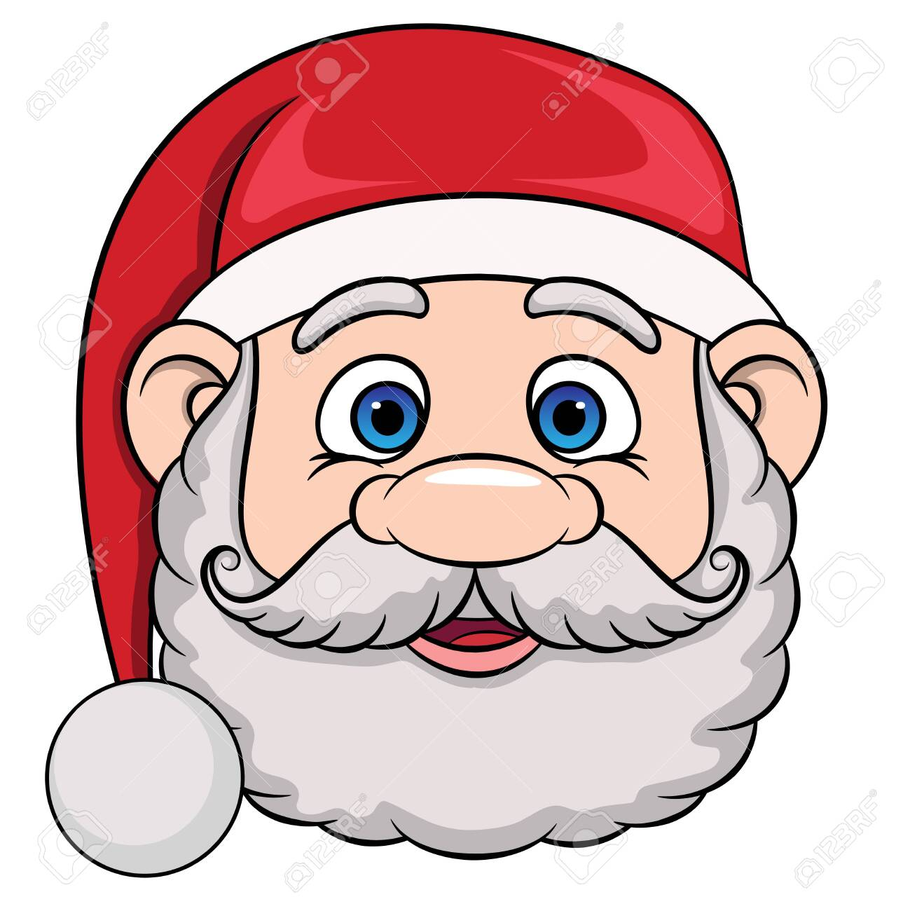 Head Of Cartoon Smiling Santa Claus In Christmas Hat Vector Royalty Free Cliparts Vectors And Stock Illustration Image 130015296