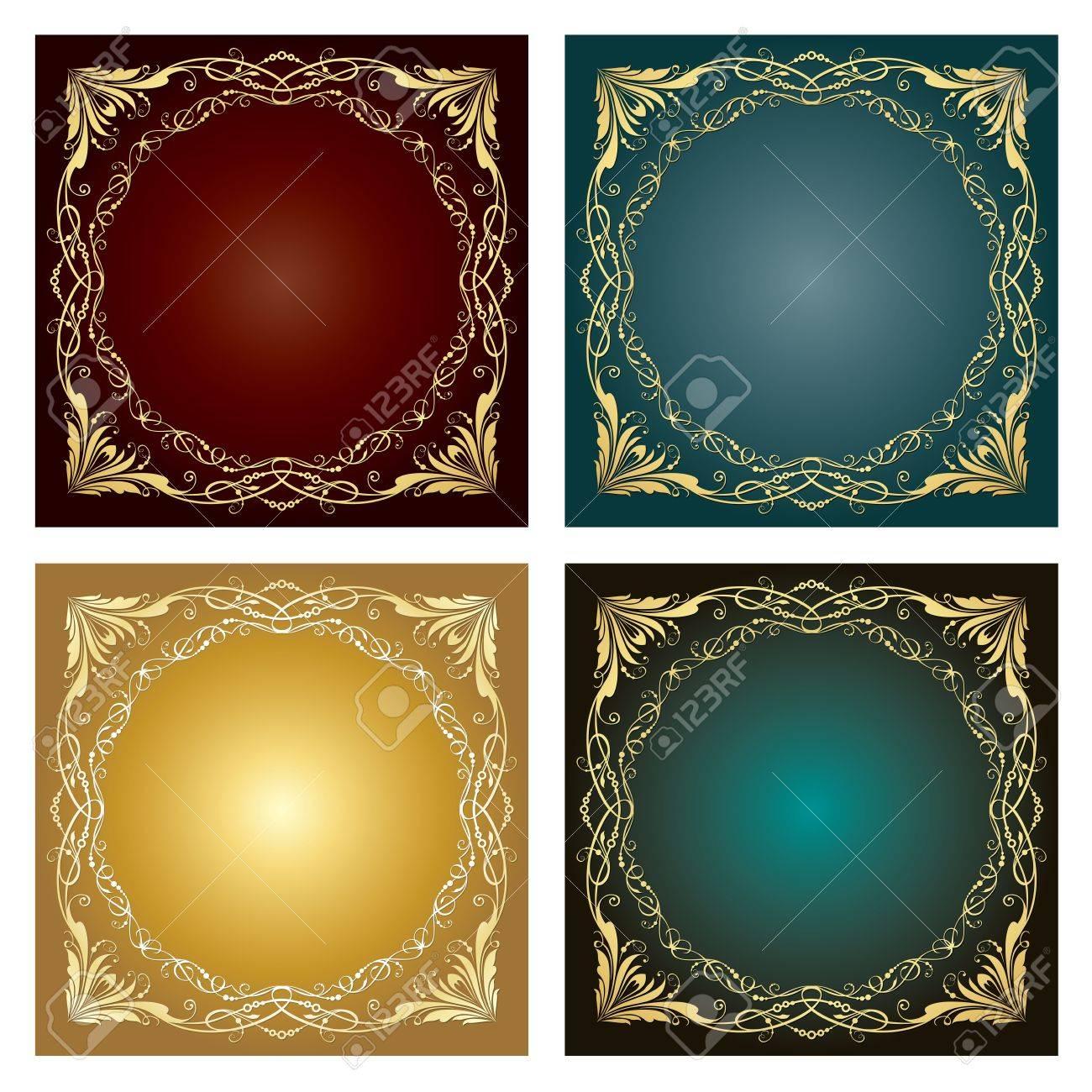 illustration Set of four vintage ornaments over colorized background.  illustration. Stock Vector - 14655700