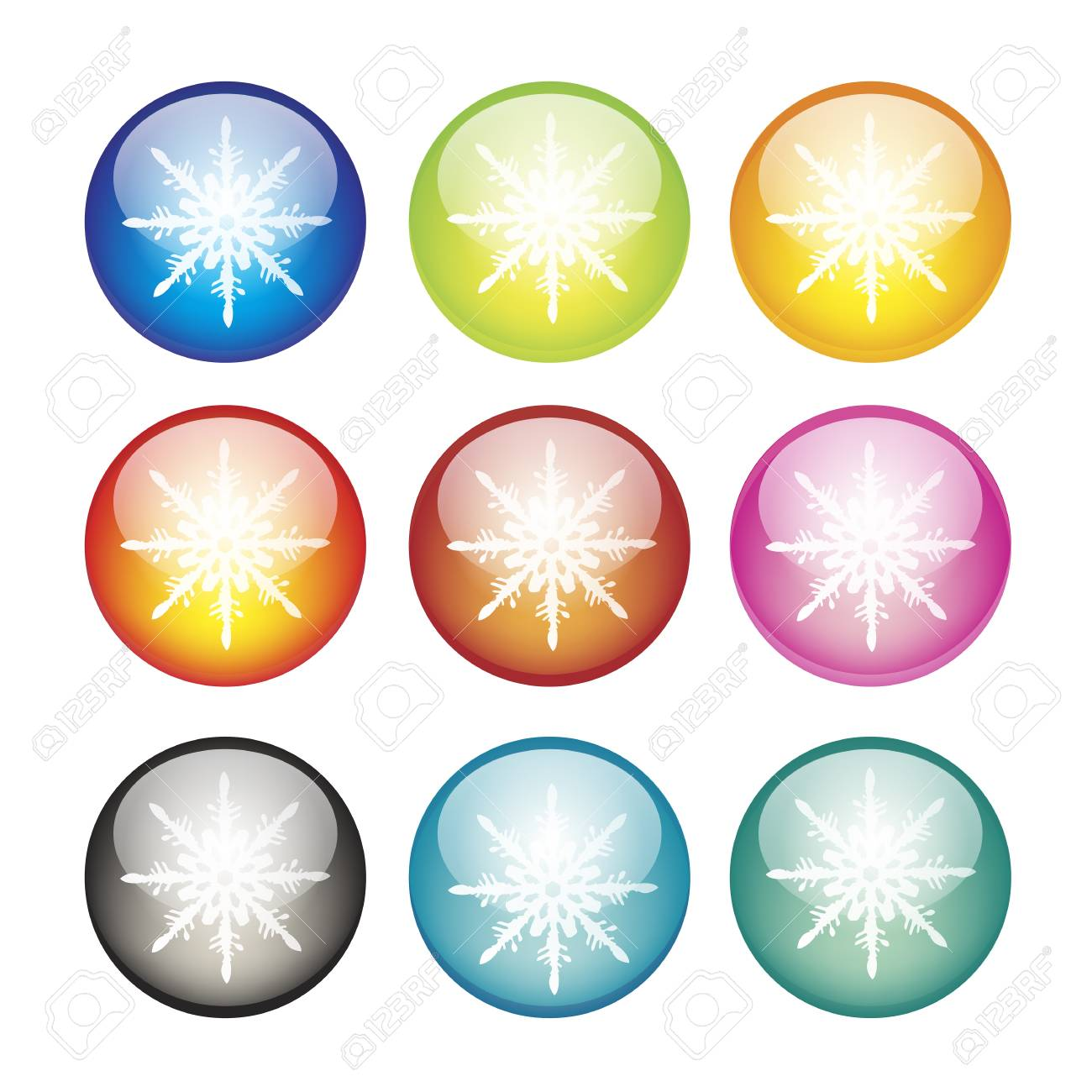 Snowflake icons on spherical background   illustration Stock Vector - 16111276