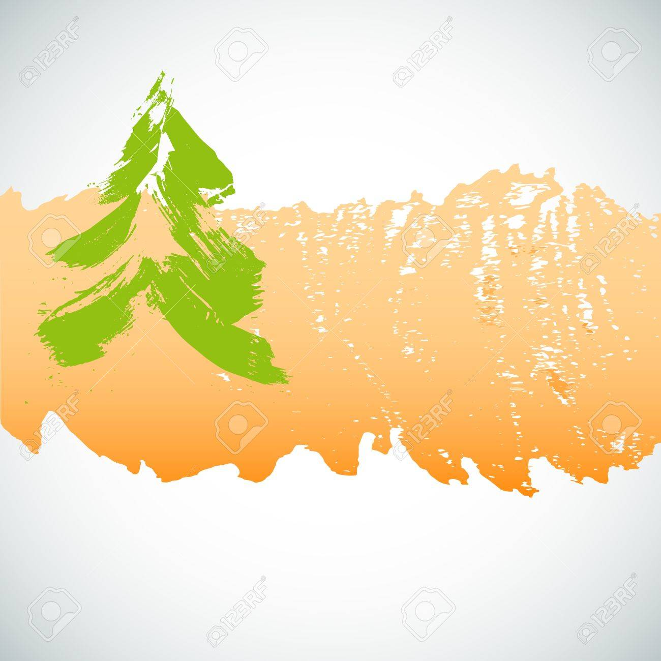 Painted christmas tree over grunge background  illustration Stock Vector - 16293278