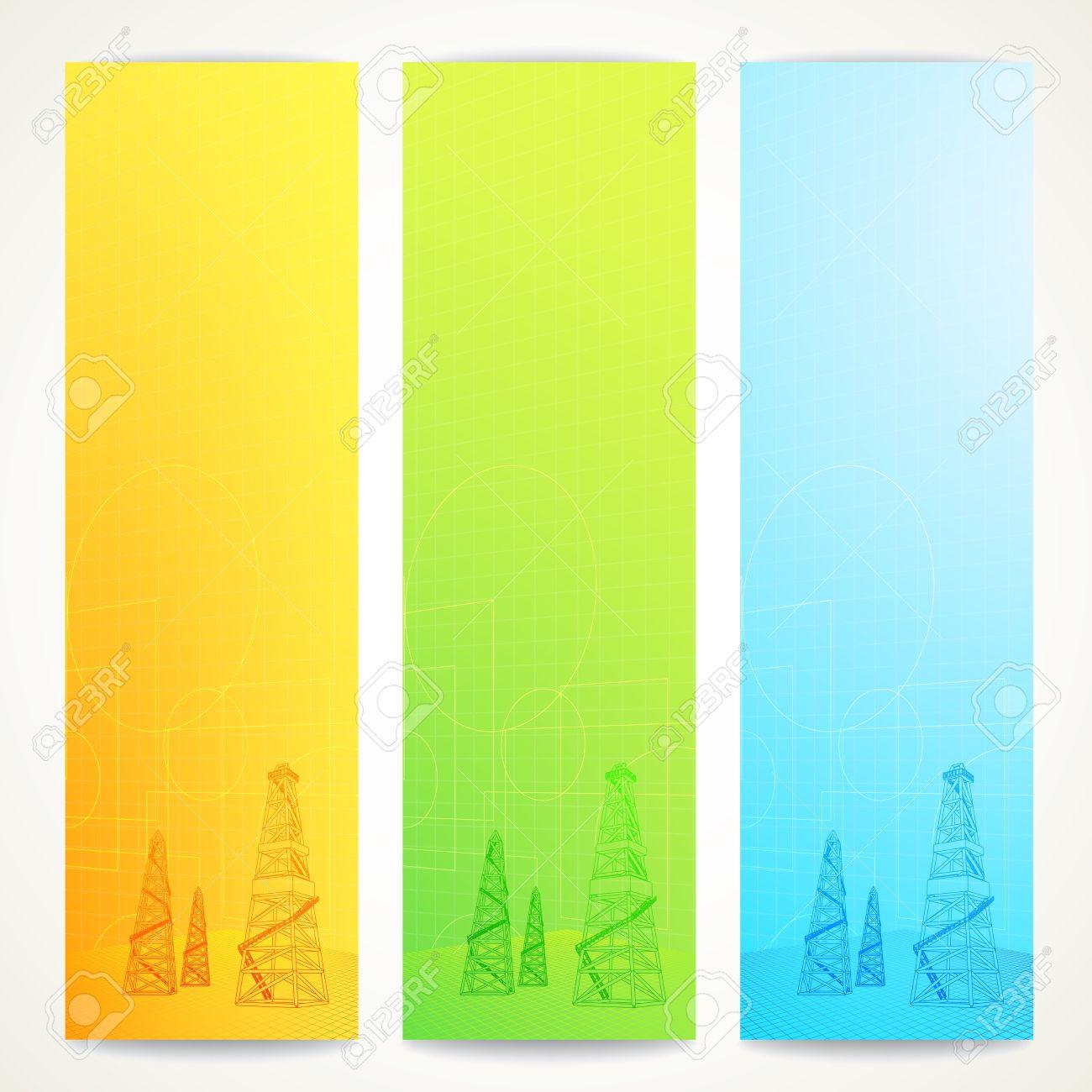 Oil Derrick Over Vertical Banner Vector Illustration Royalty Free ...