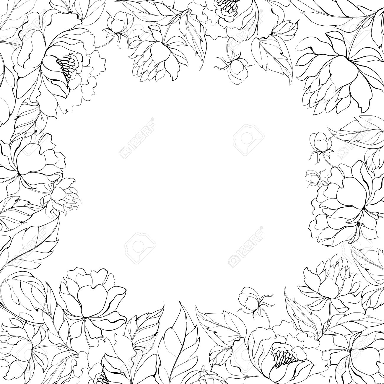 frame of peony royalty free cliparts vectors and stock