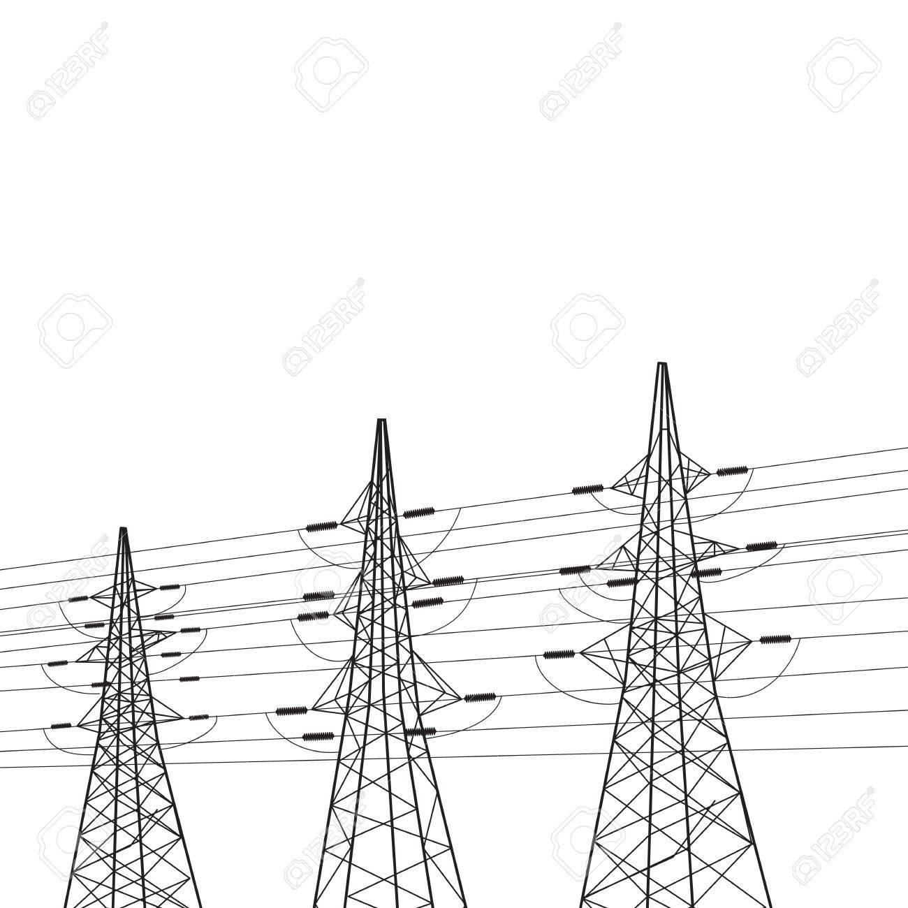 Electricity pole over white illustration Stock Illustration - 20875970