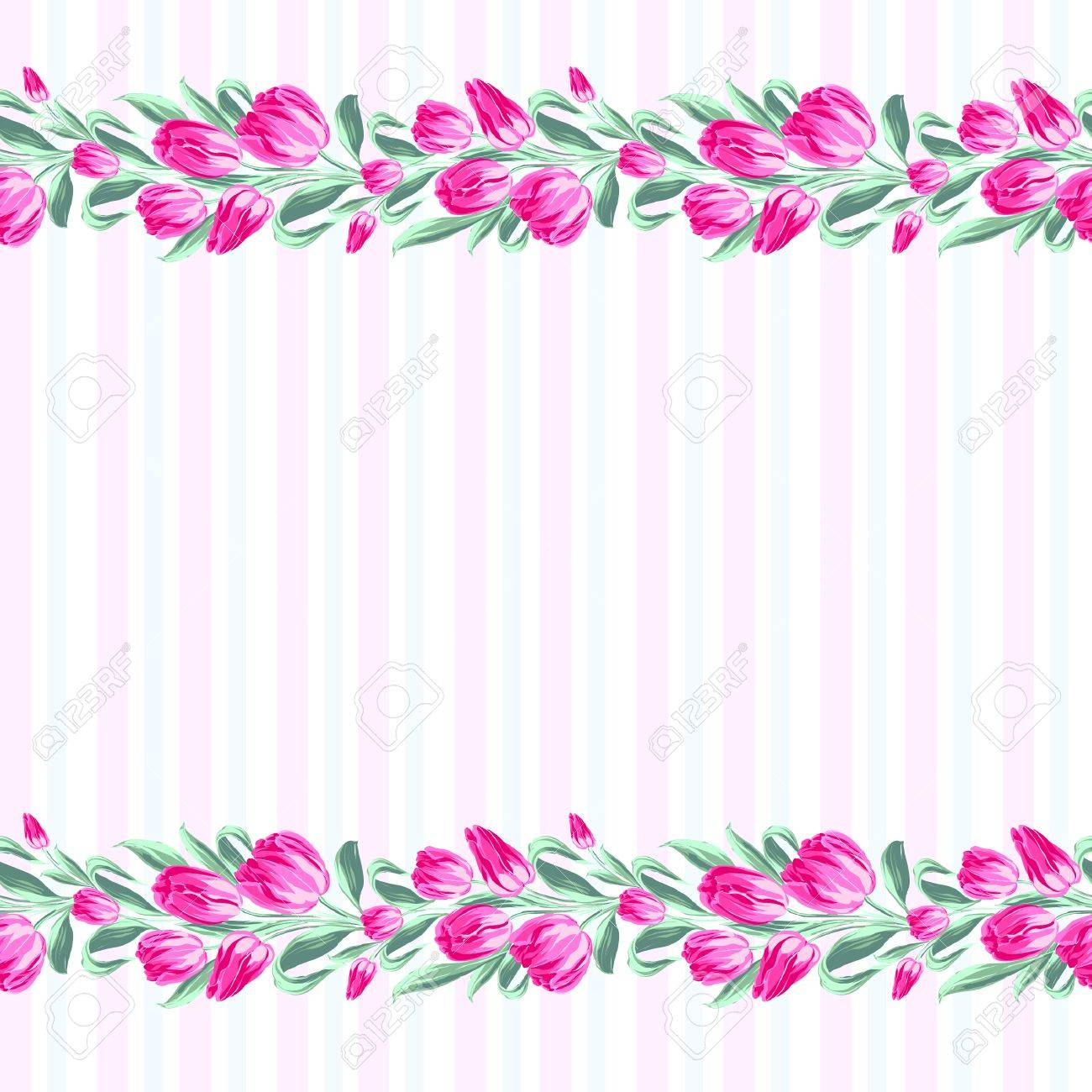 Invitation Cards With Flowers And Lines Vector Illustration