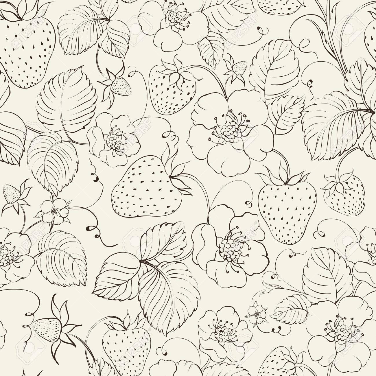 Strawberries seamless pattern. Vector illustration. Stock Vector - 23079641
