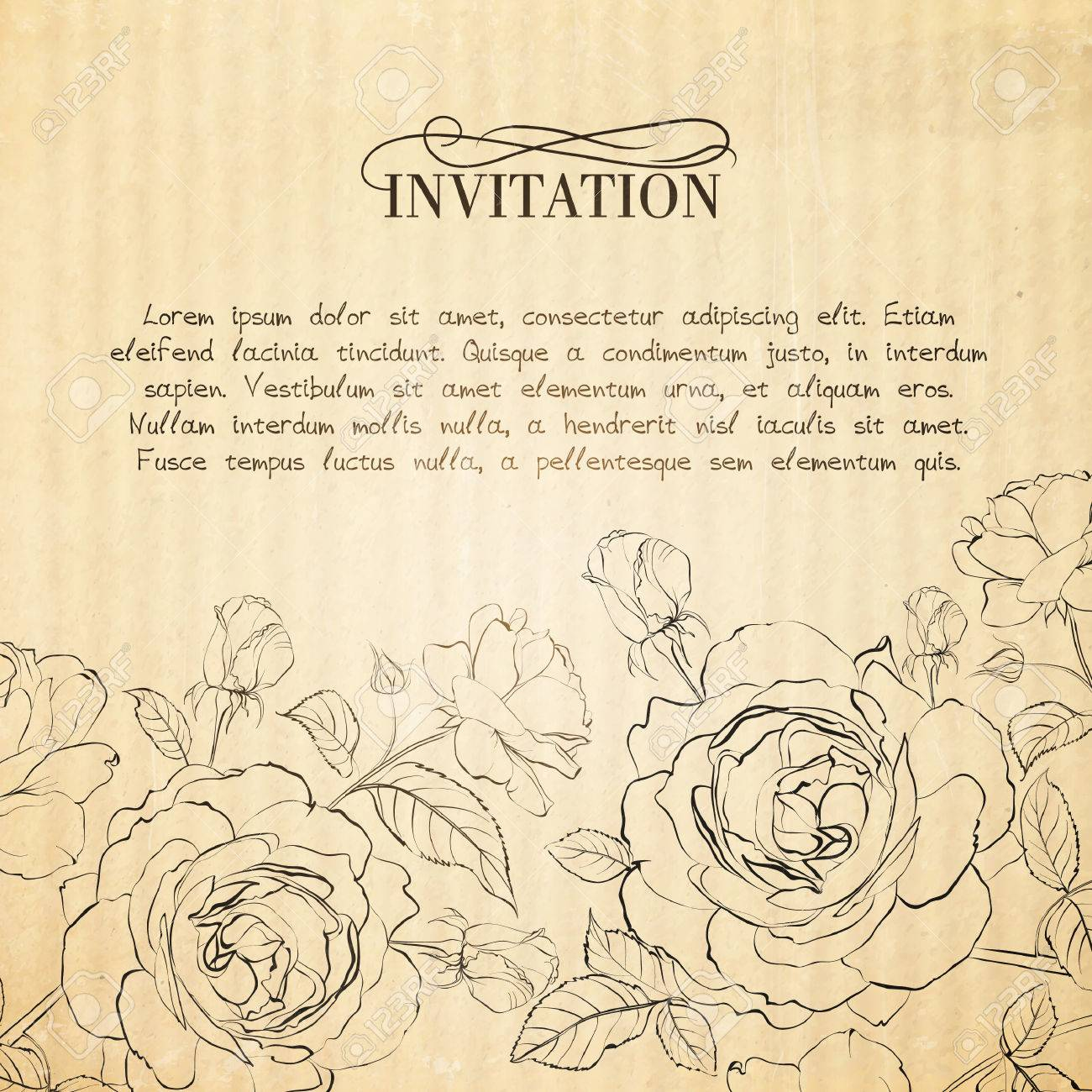 Invitation card with roses vector illustration royalty free invitation card with roses vector illustration stock vector 24055746 stopboris Images