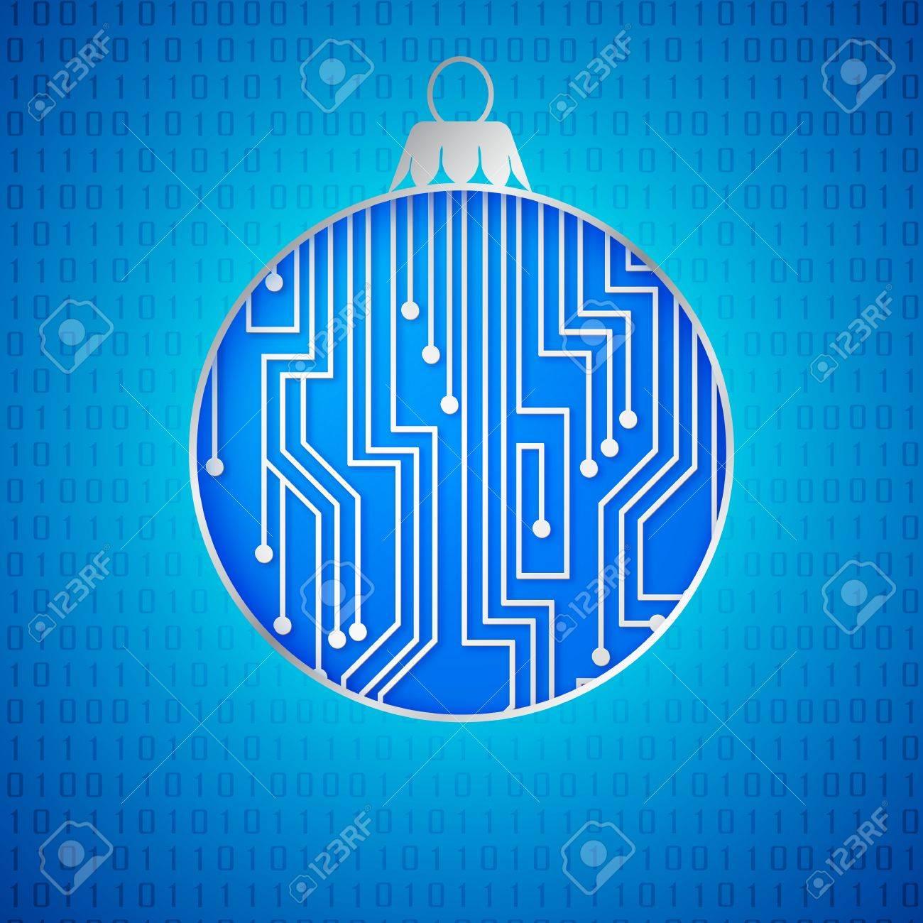 Microprocessor Circuitry Christmas Design. Vector Illustration ...