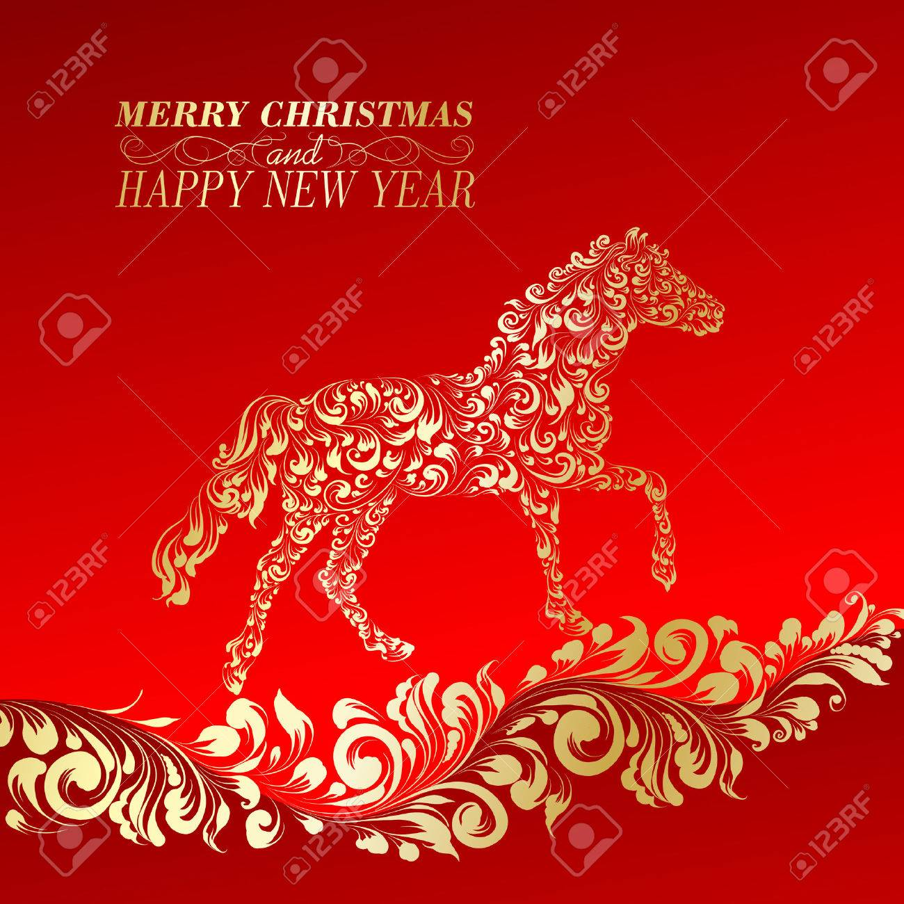 Christmas Greeting Card. Vintage card with horse. Vector illustration. Stock Vector - 24340665