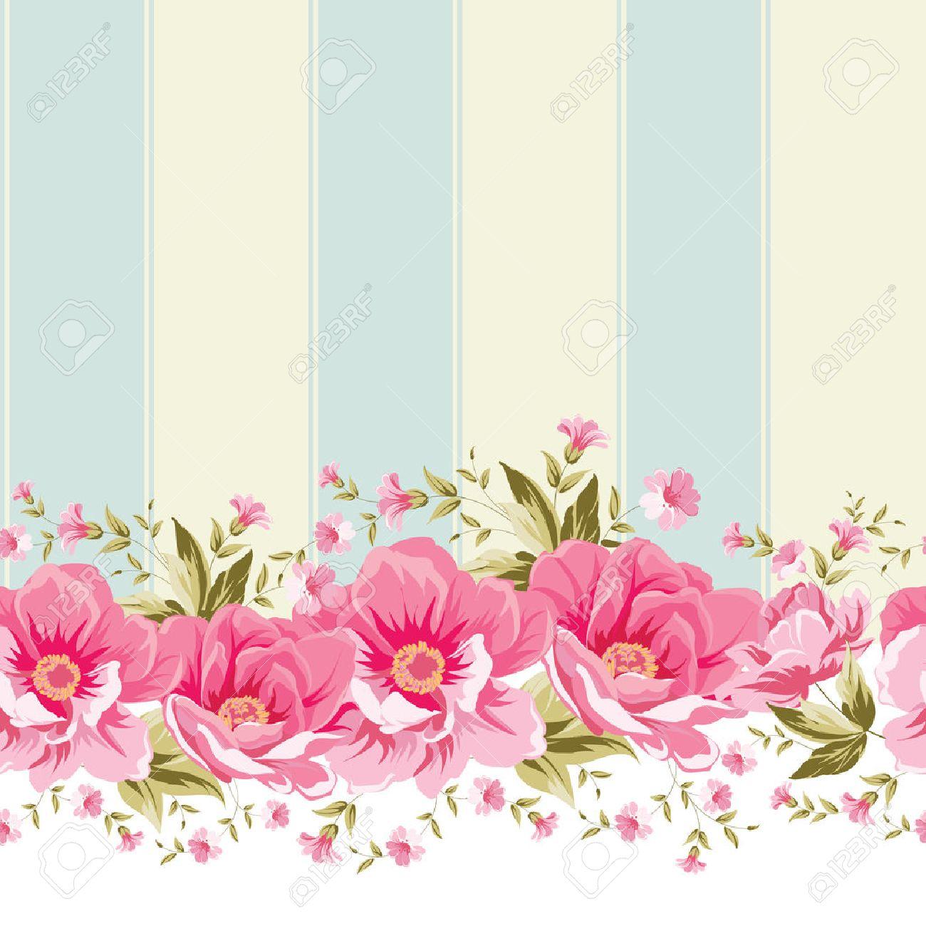 Ornement Fleur Rose Frontiere Avec La Tuile Design Elegant De