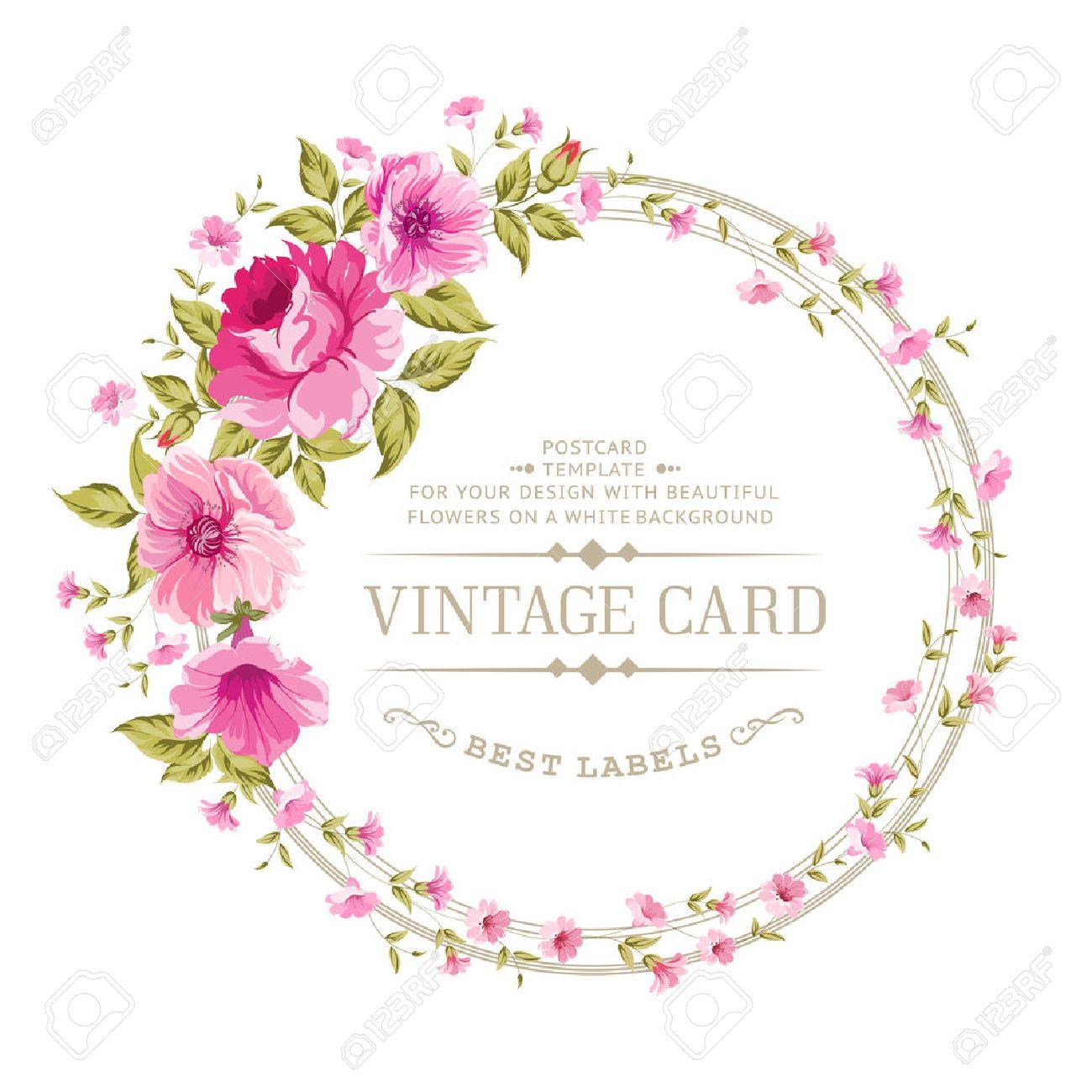 Luxueux Carte Vintage De L étiquette Couleur Pivoine Vecteur Illistration