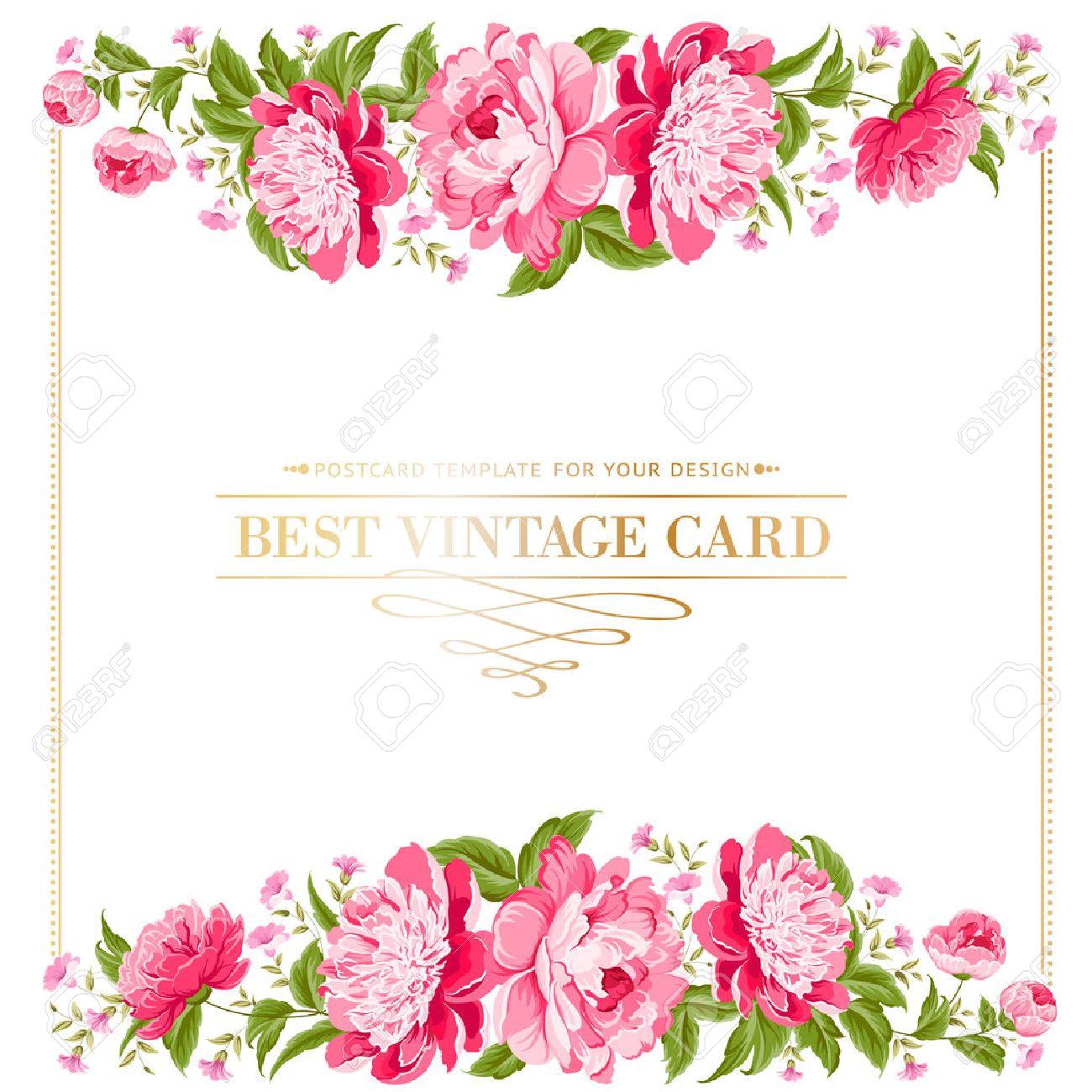 Luxueux Cadre Vintage étiquette Couleur Pivoine Vector Illustration