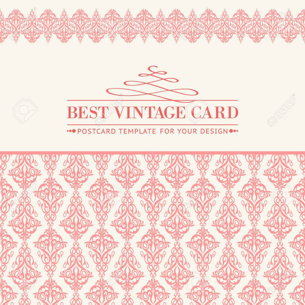Floral Stationary Template In Rose Color With Damask Border ...