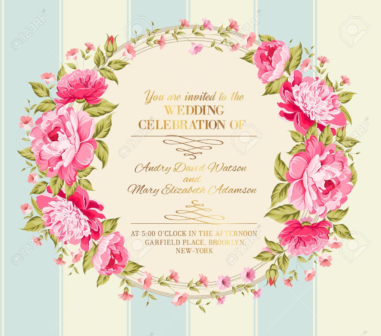 Etiqueta Del Vintage Impresionante De Flores De Colores Ilustracion