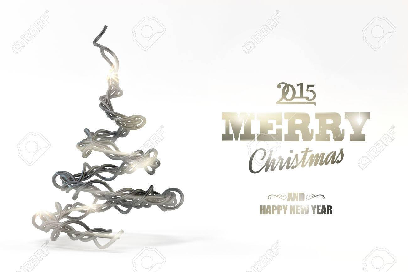 Illustration   Illustration Of Wired Christmas Tree On White Background