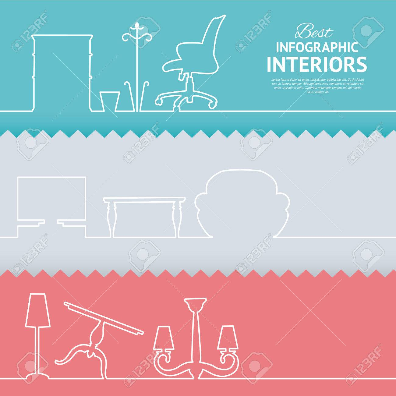Flat Colors Infographics With Interior Design Elements Vector Illustration Stock