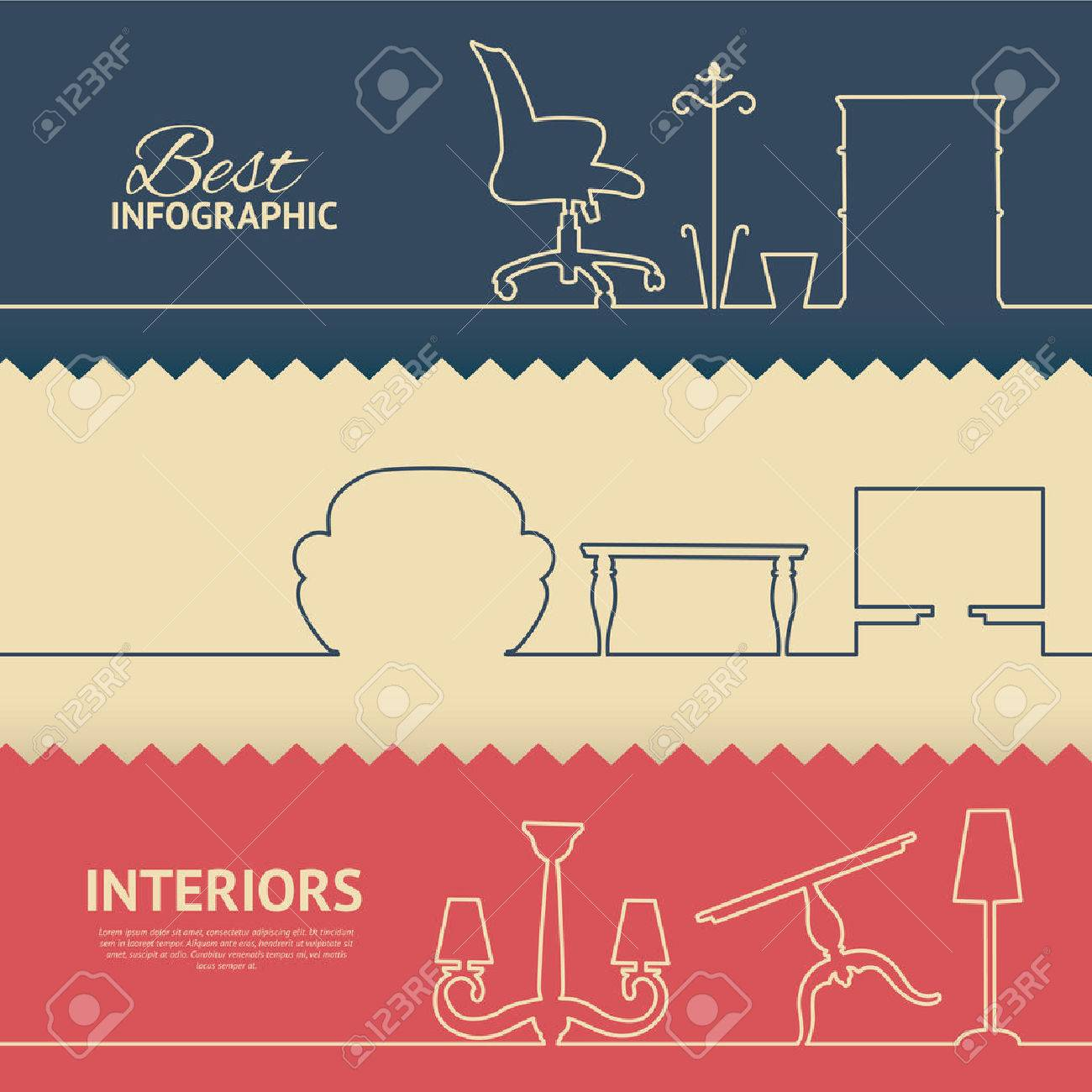 Flat colors infographics with interior design elements. Vector illustration. - 32841962