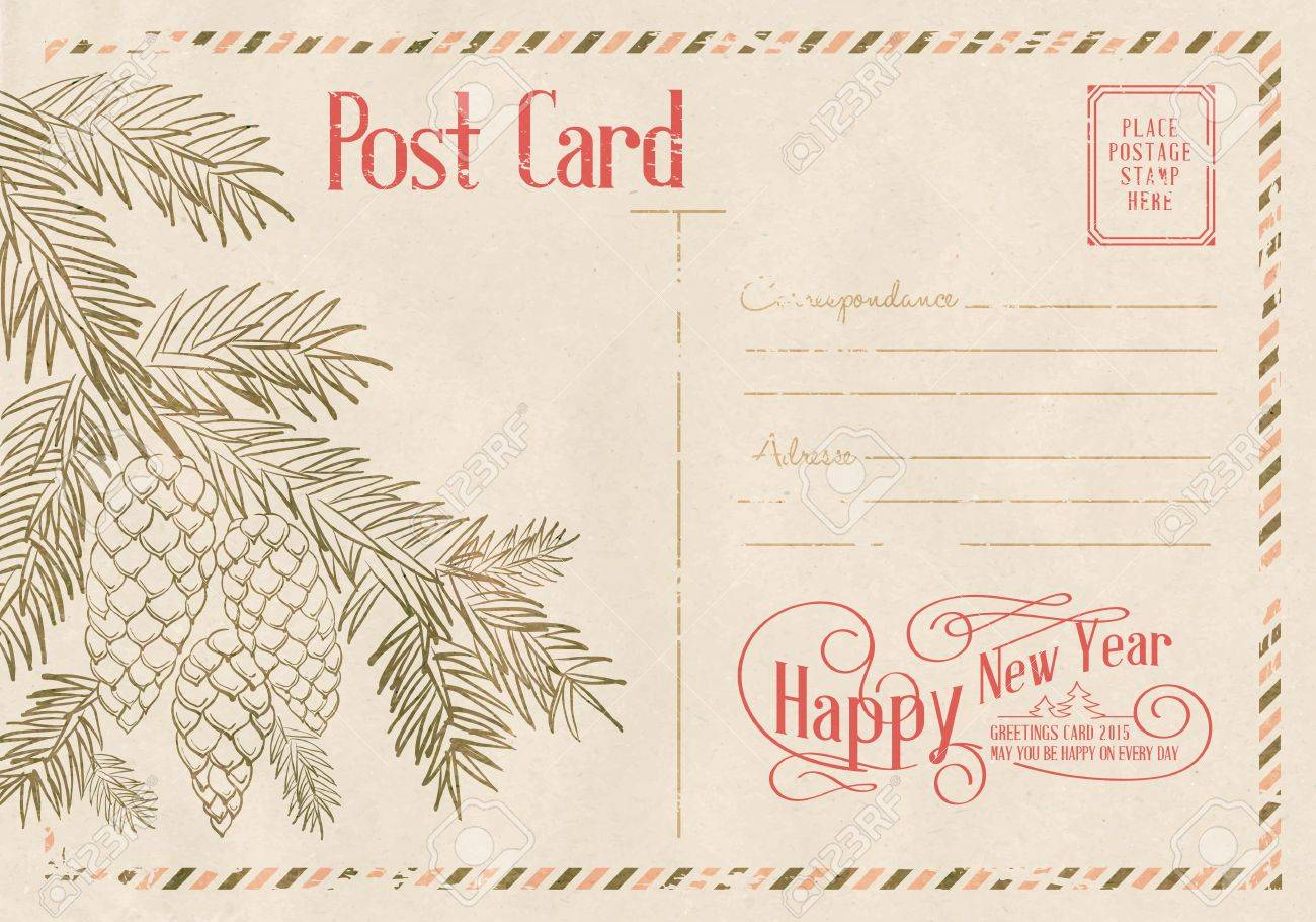 backdrop of postal card for happy new year holiday vector illustration stock vector