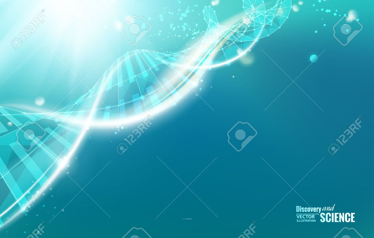 Science template for your card, wallpaper or banner with a DNA molecules of poligons. Vector illustration. - 33755130