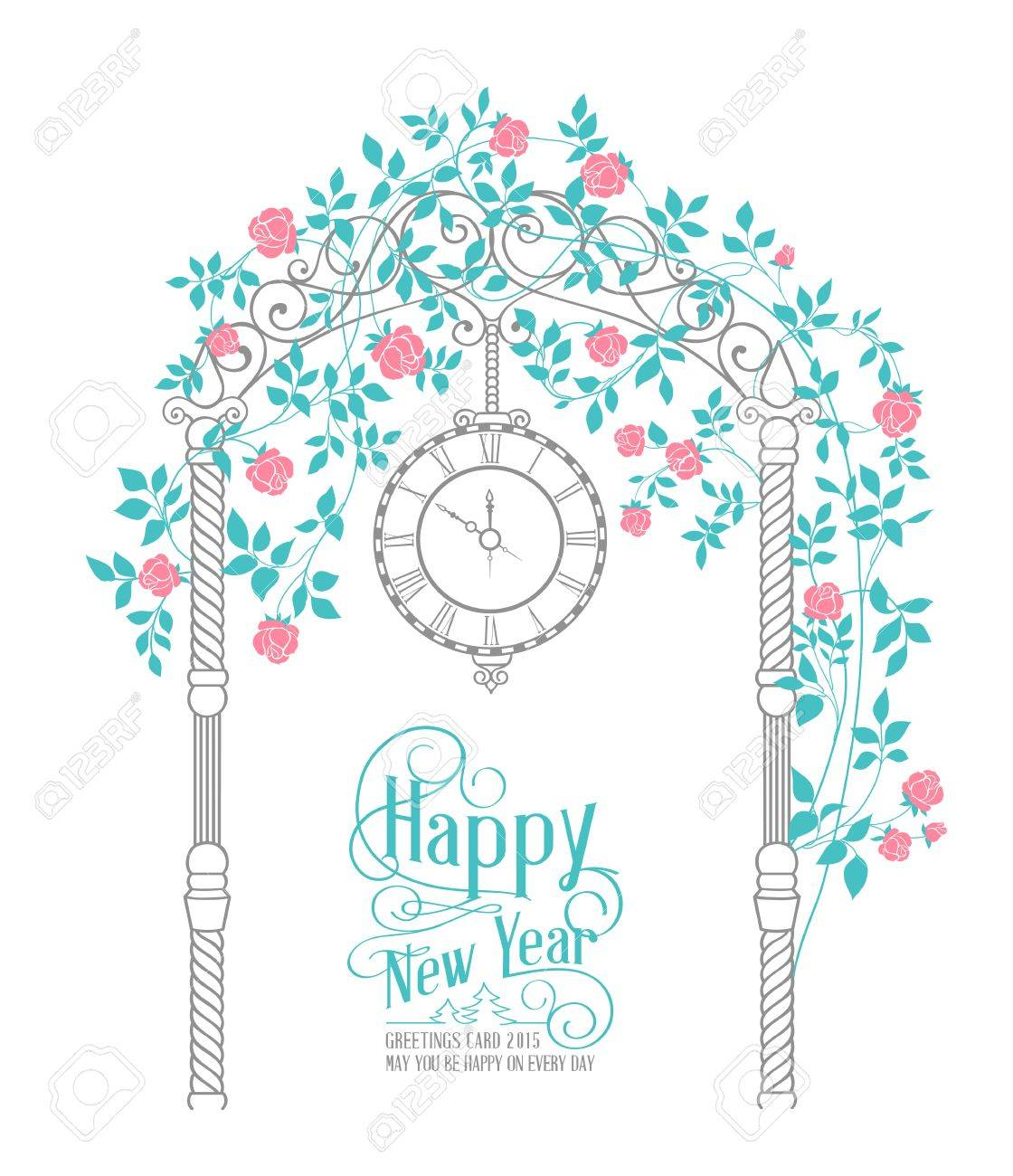 Happy New Year Text Card With Rose Arch And Leaves Isolated Over