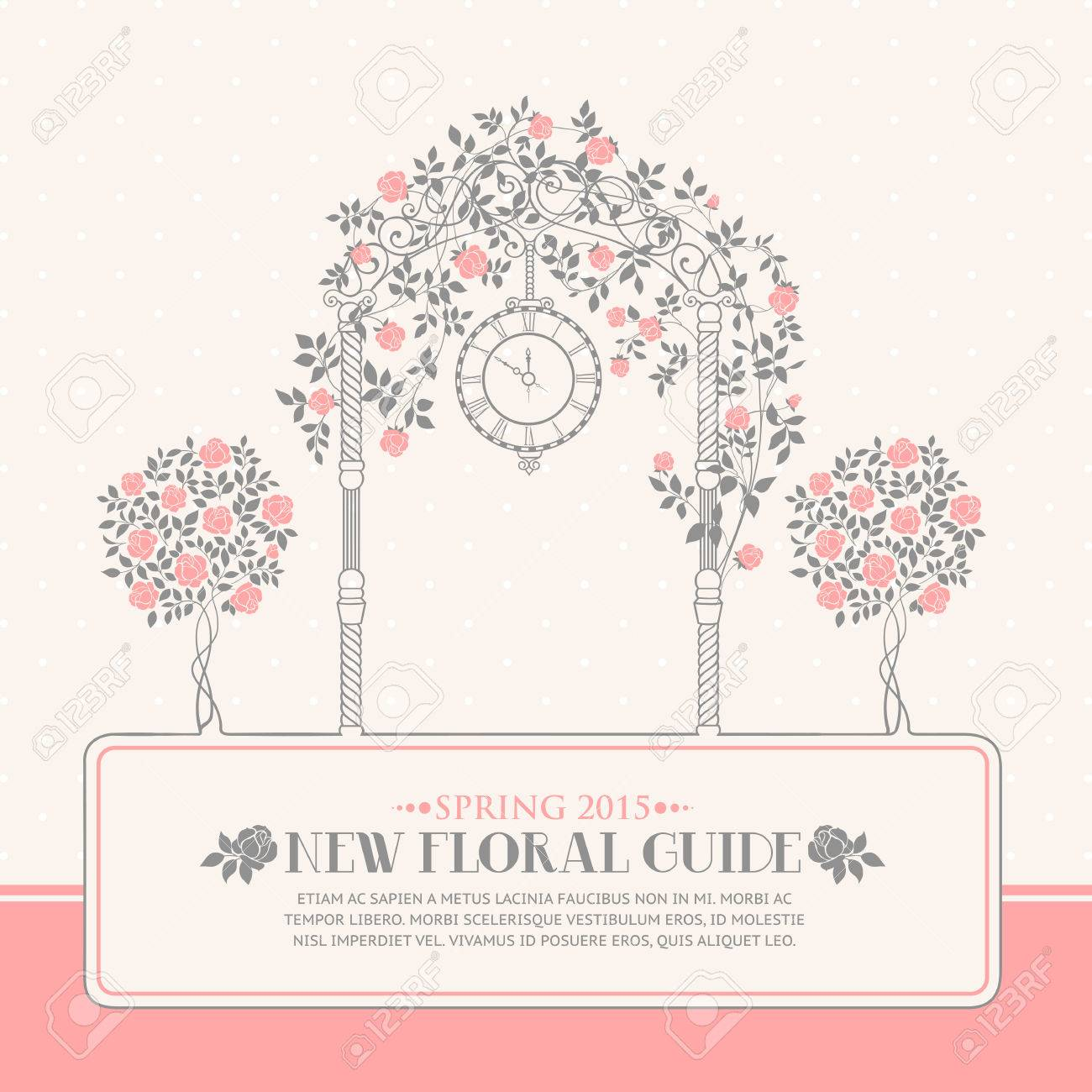 rose garden with trees and arch flowers text template plase