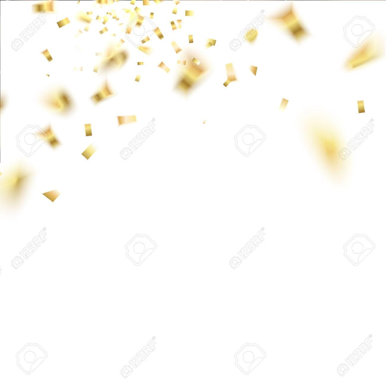 黄金の紙吹雪の分離倒れる白い背景ベクトル イラストのイラスト素材