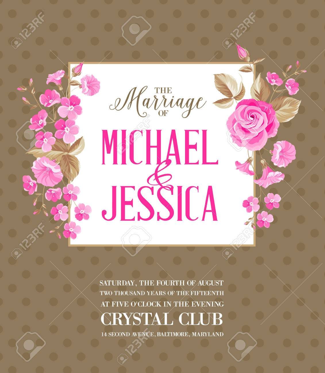 Shabby Chic Printable Marriage Party Invitation With Dotted ...