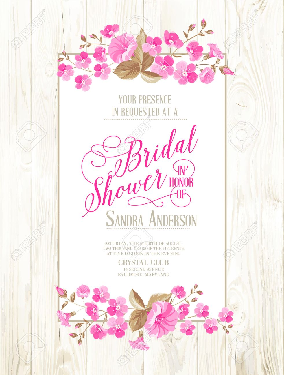bridal shower invitation with ivory background on wooden pattern vintage floral invitation for spring or