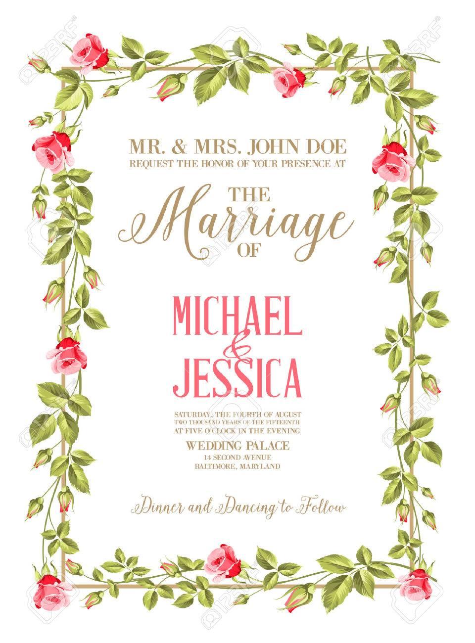 Heirat Einladungskarte Mit Benutzerdefinierten Zeichen Und Blumenrahmen Auf  Holzuntergrund. Vektor Illustration. Lizenzfreie Bilder