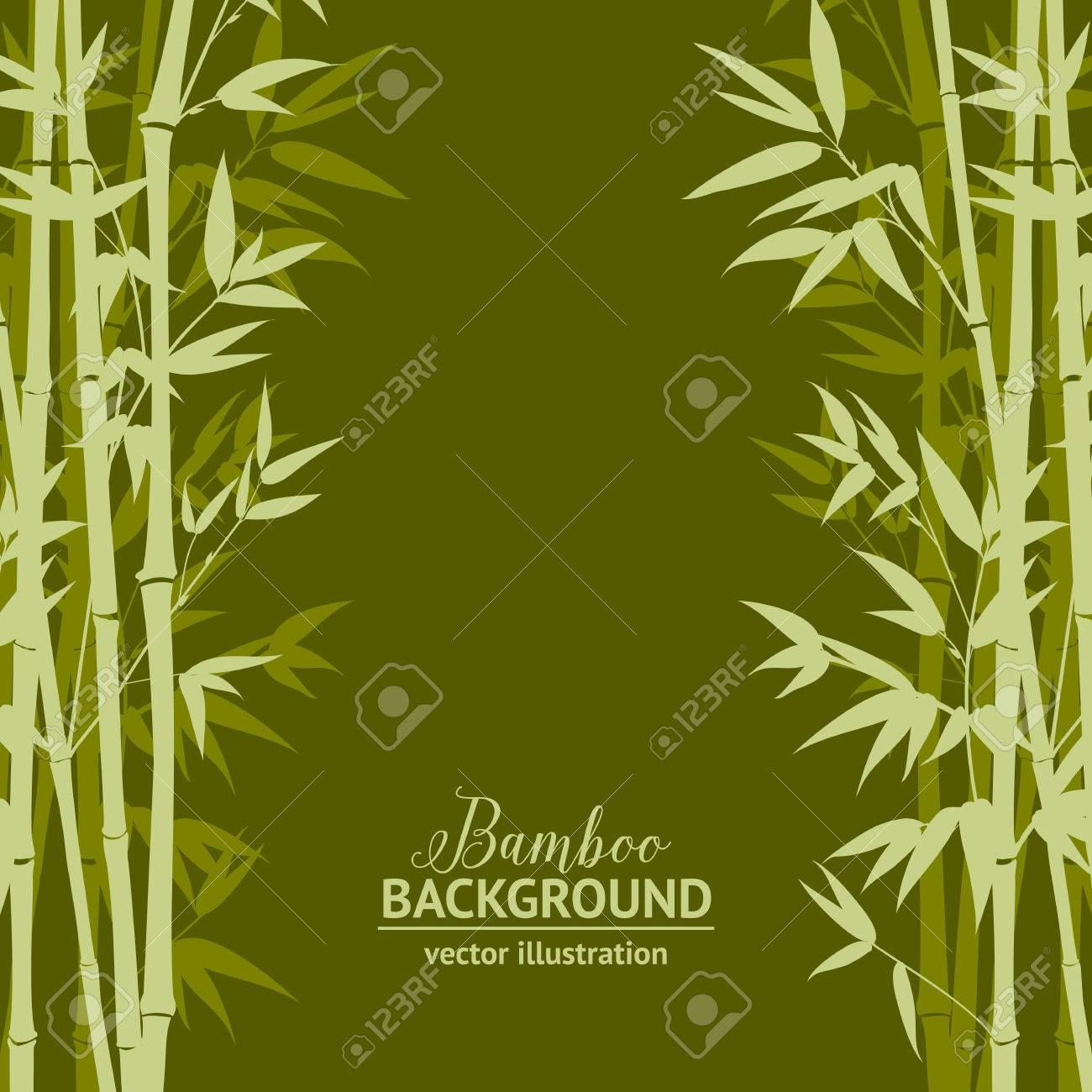 緑の背景、デザイン カード上の竹の森。ベクトル イラスト