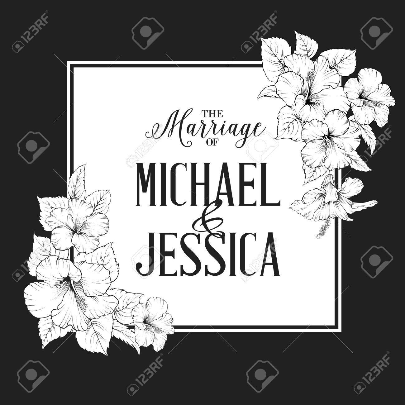 Hibiscus Blume Rahmen Mit Ehe Text. Schwarz Und Weiß. Vektor ...