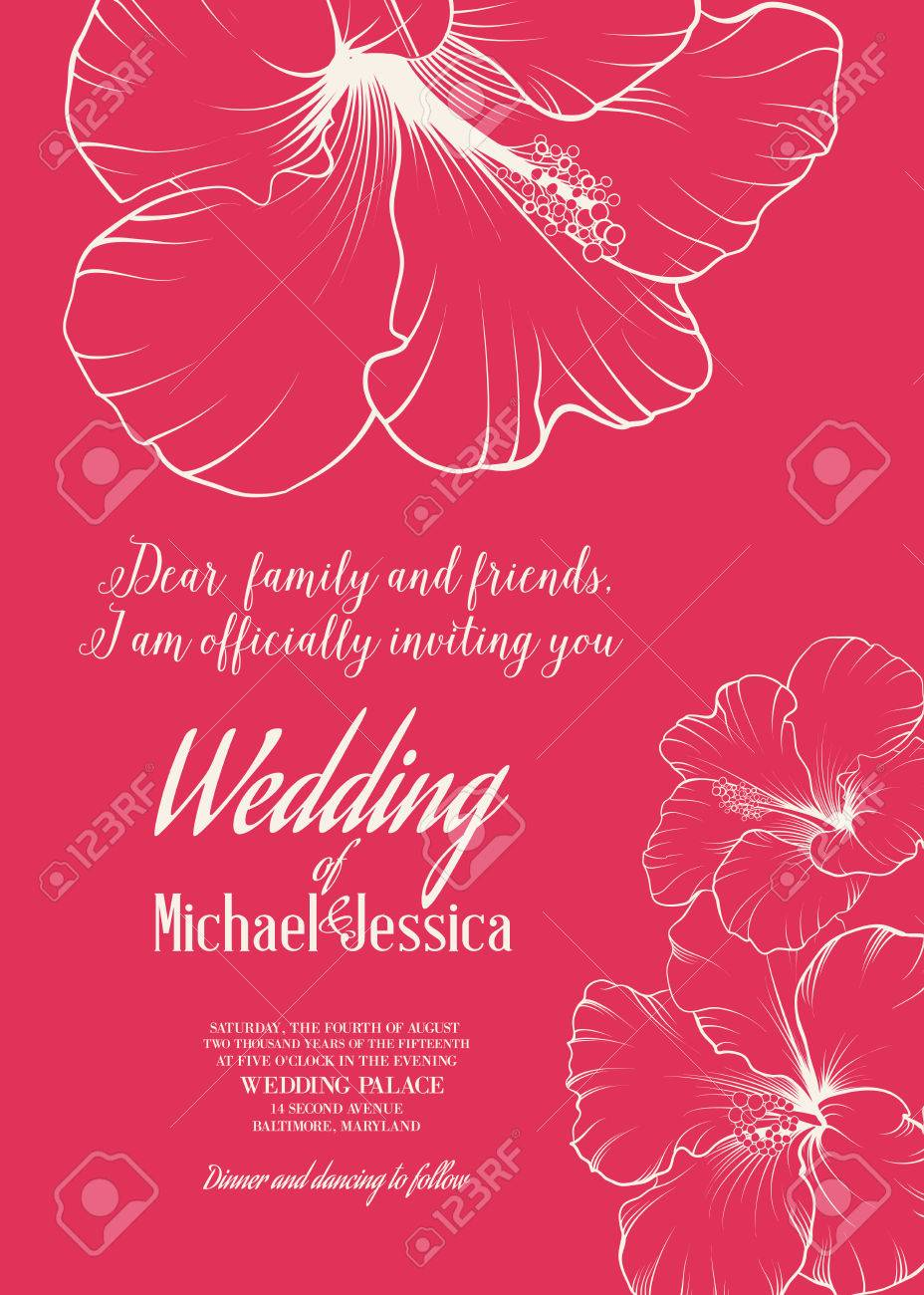 Wedding Invitation Template With Names Michael And Jessica With ...