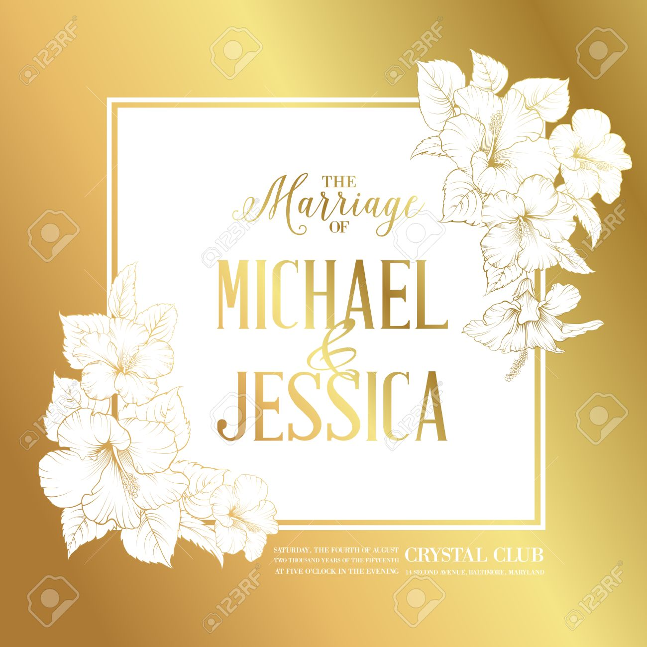 Golden card with wedding invitation text and bouquet of hibiscus golden card with wedding invitation text and bouquet of hibiscus flowers vector illustration stock stopboris Image collections