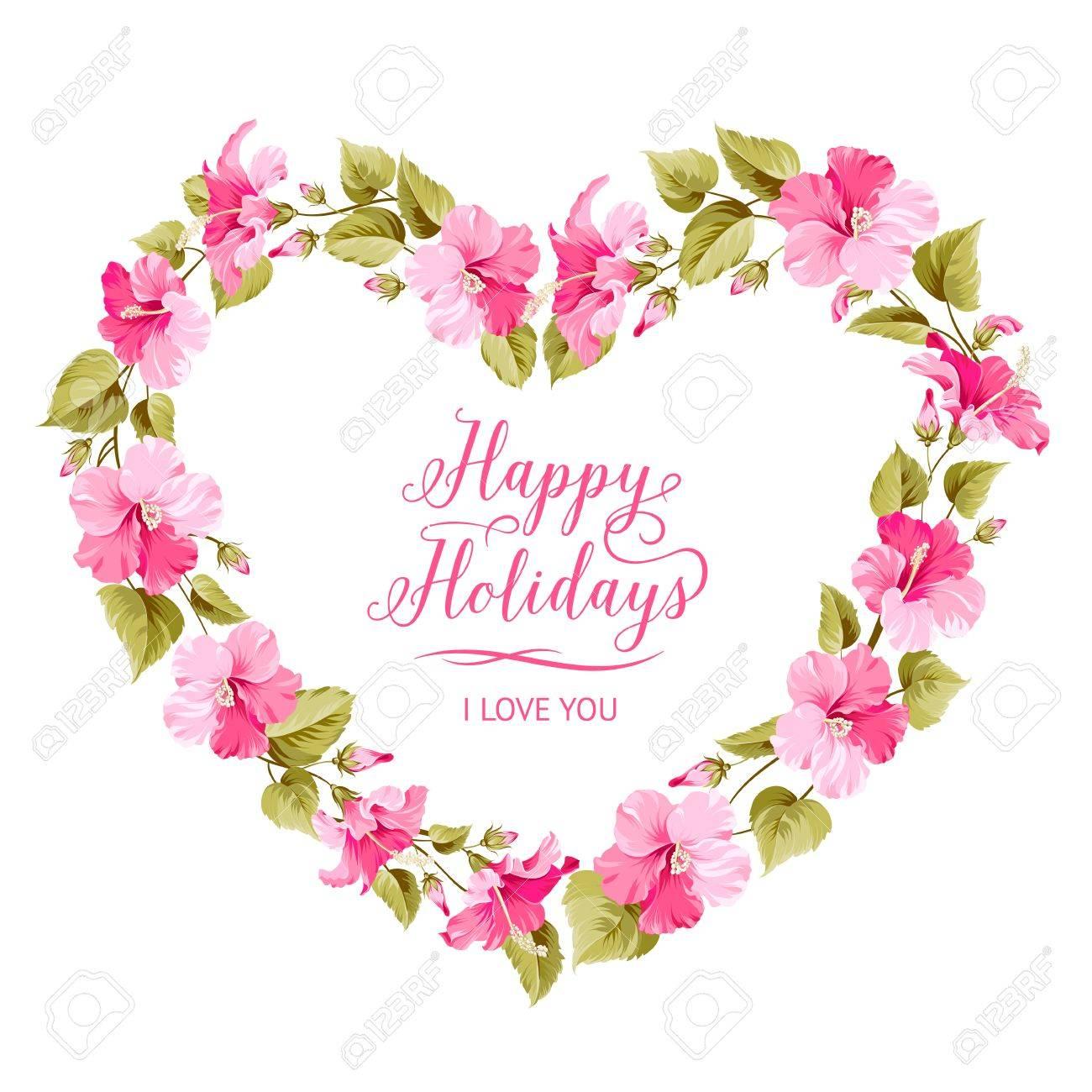 Wedding invitation card with happy holyday text and romantic vector wedding invitation card with happy holyday text and romantic flowers vector illustration stopboris Gallery