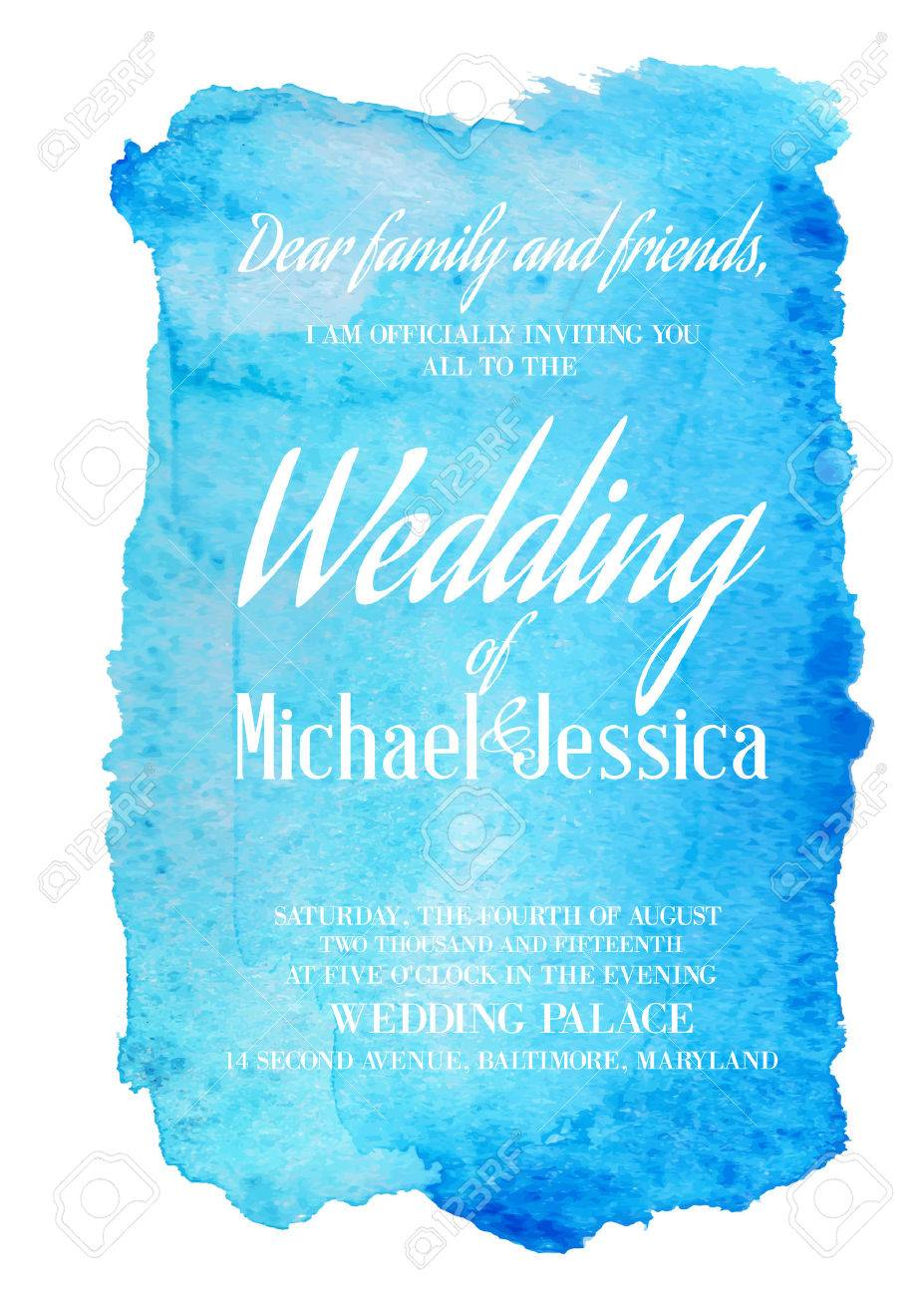 Wedding Invitation Card With Blue Watercolor Blot On Backdrop – Blue Wedding Invitation Cards
