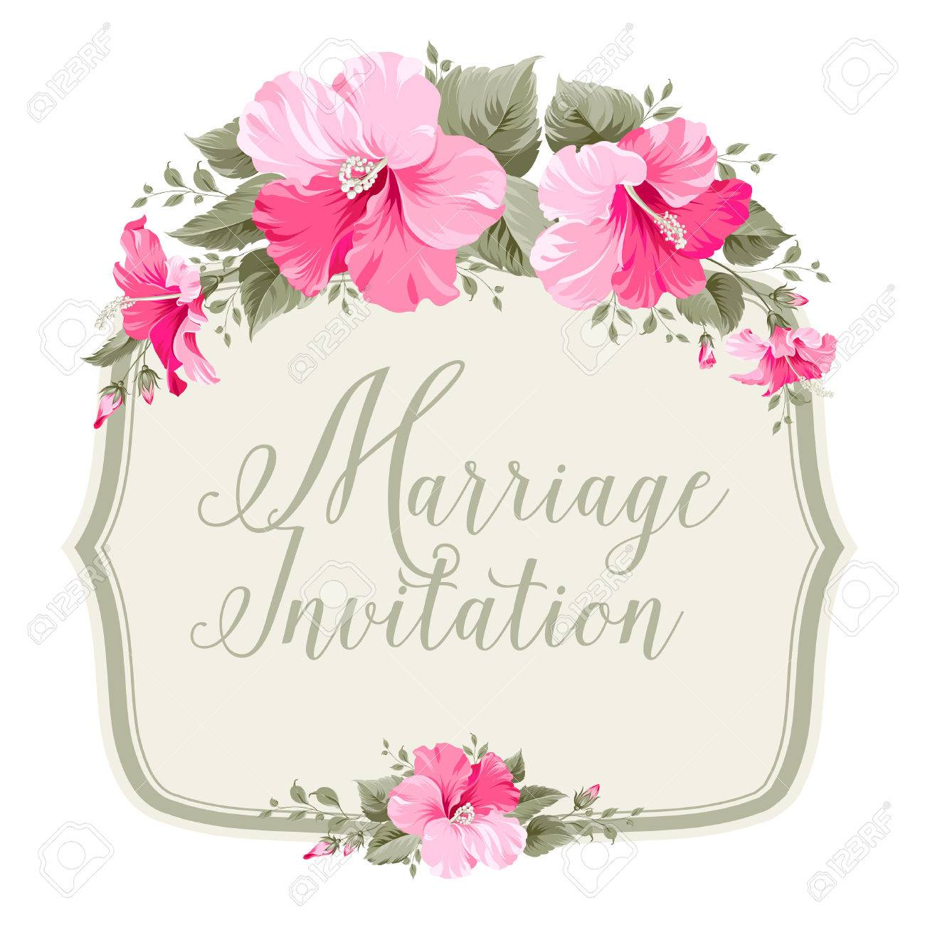 Marriage invitation card with floral garland and calligraphic marriage invitation card with floral garland and calligraphic text vector illustration stock vector stopboris Choice Image