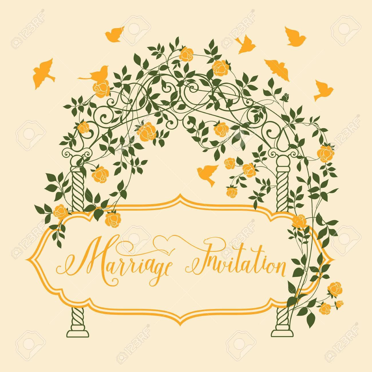 Heirat Einladungskarte Mit Blumengirlande Und Kalligraphischen Text.  Vektor Illustration. Lizenzfreie Bilder   37755116