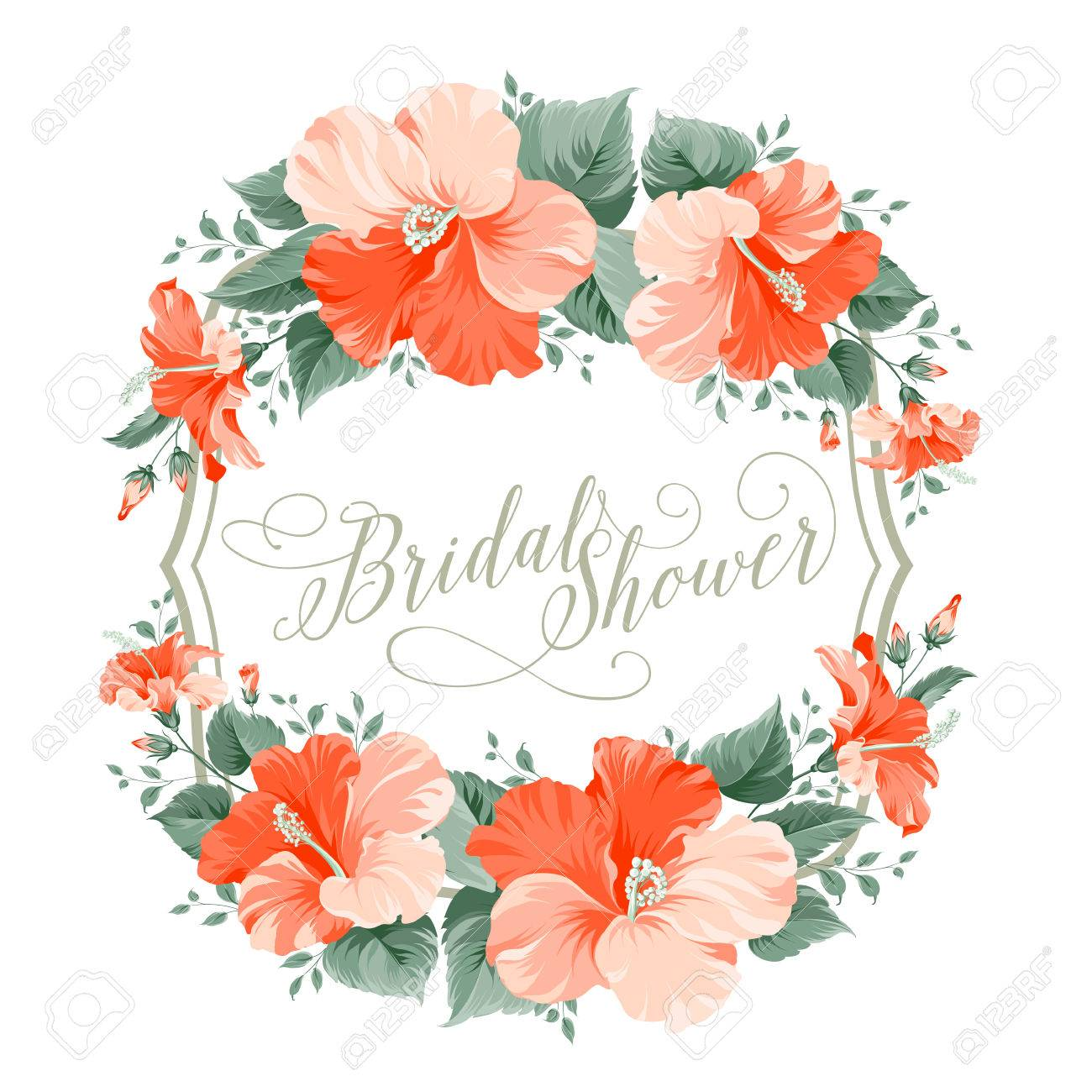red hibiscus flower wreath with calligraphic text for bridal shower invitation vector illustration stock