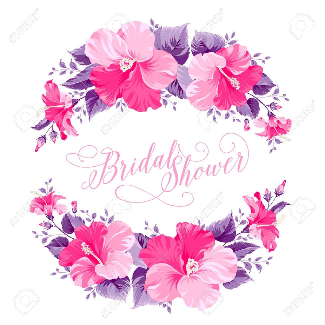 banque dimages hibiscus rouge couronne de fleurs avec du texte calligraphique pour invitation nuptiale de douche vector illustration