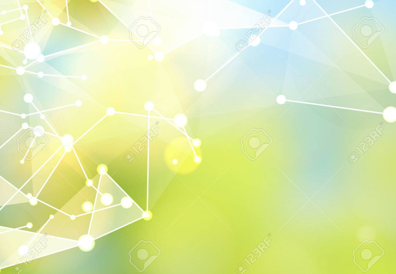 Abstract particles over green nature background with shining