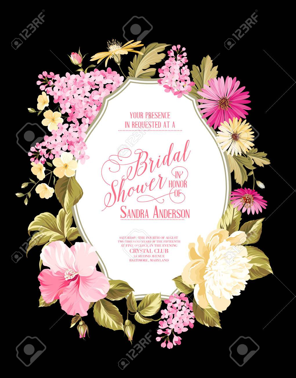 Bridal Shower Invitation Card With Calligraphic Text Vintage – Spring or Summer Theme Invitation Cards