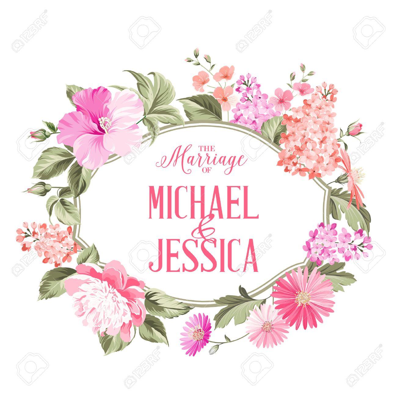 Heirat Einladungskarte Mit Kundenspezifischer Text, Vintage Floral Einladung  Für Frühling Oder Sommer Party.