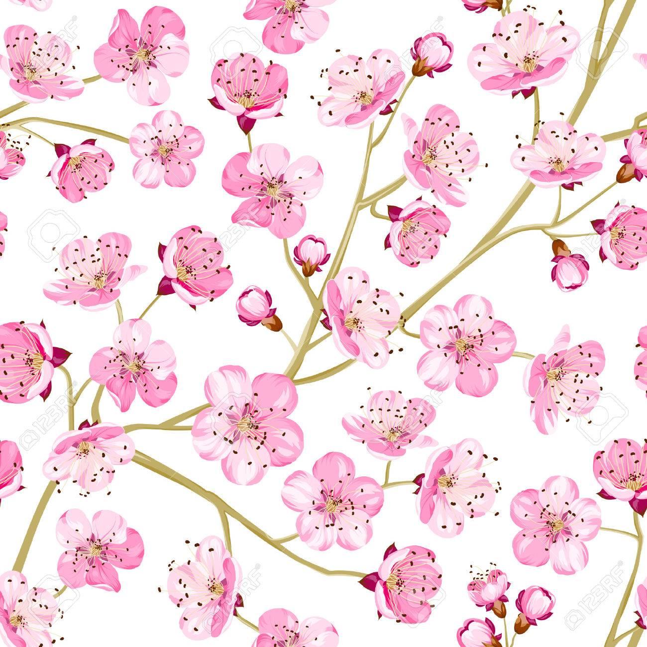 Spring Flowers Wallpaper Over White Background Vector Illustration