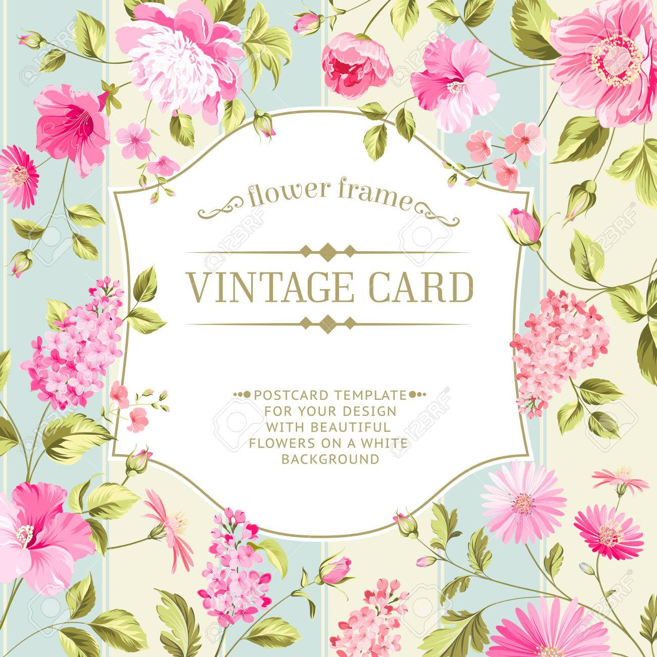 lable card with template text and flower pattern on background
