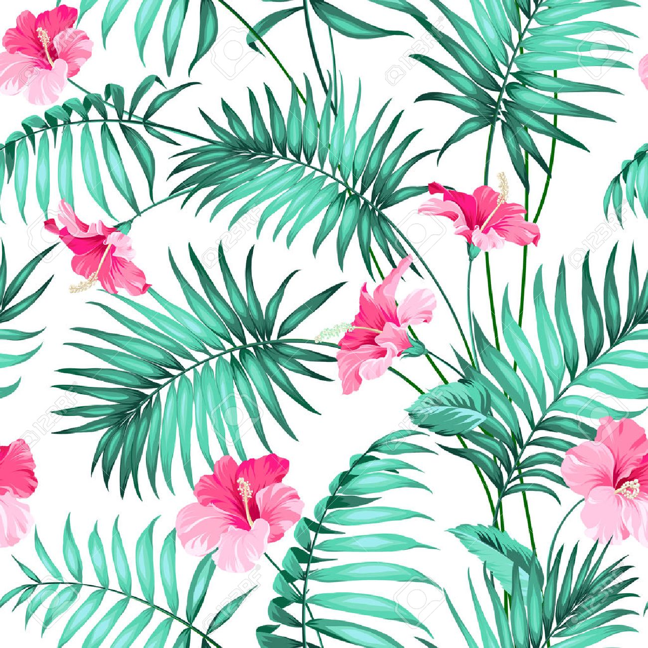 seamless pattern tropical background with flowers royalty free