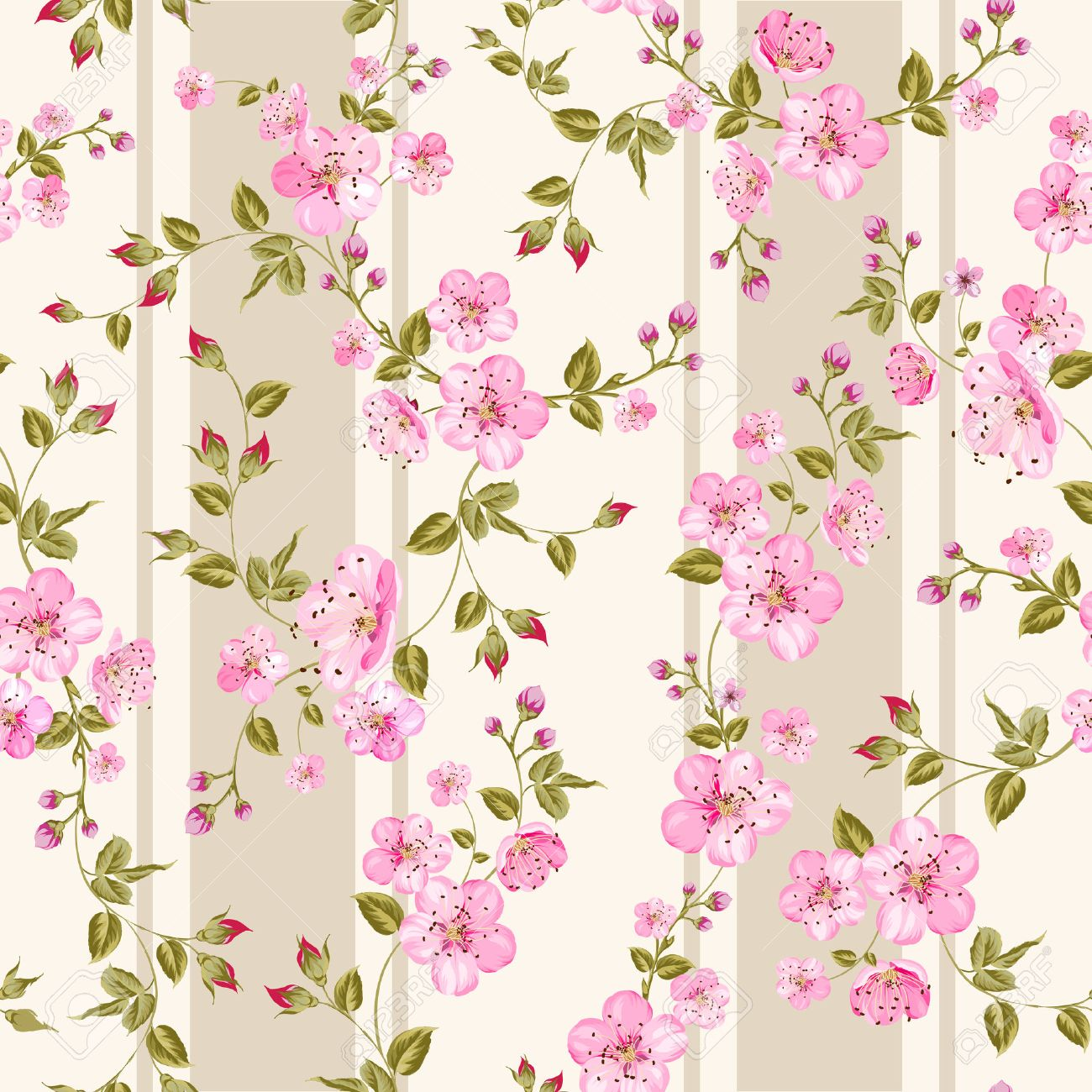 Flores de primavera wallpaper sobre fondo sepia. Ilustración del vector. Foto de archivo ,