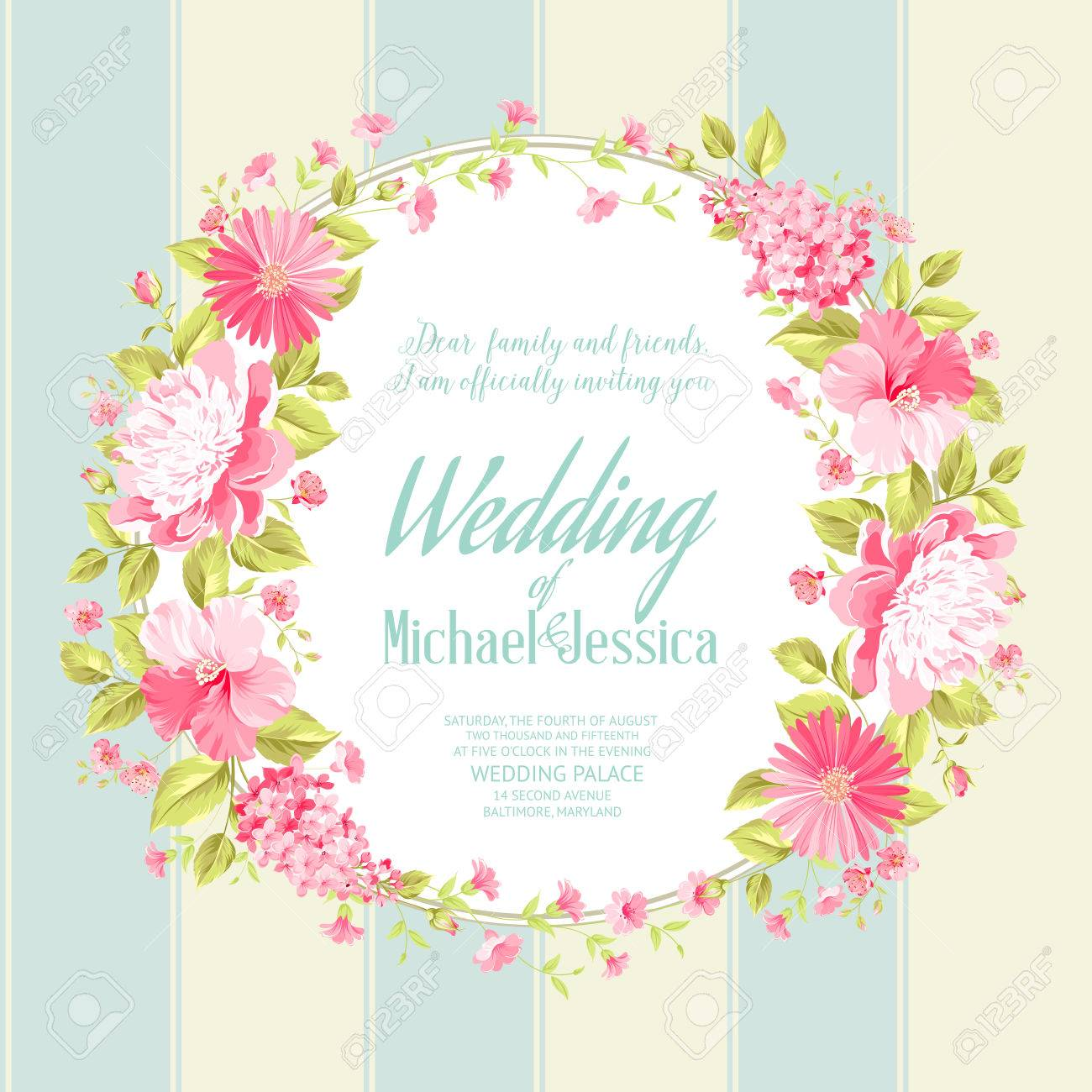Wedding Invitation Card With Custom Text Vintage Floral – Spring or Summer Theme Invitation Cards