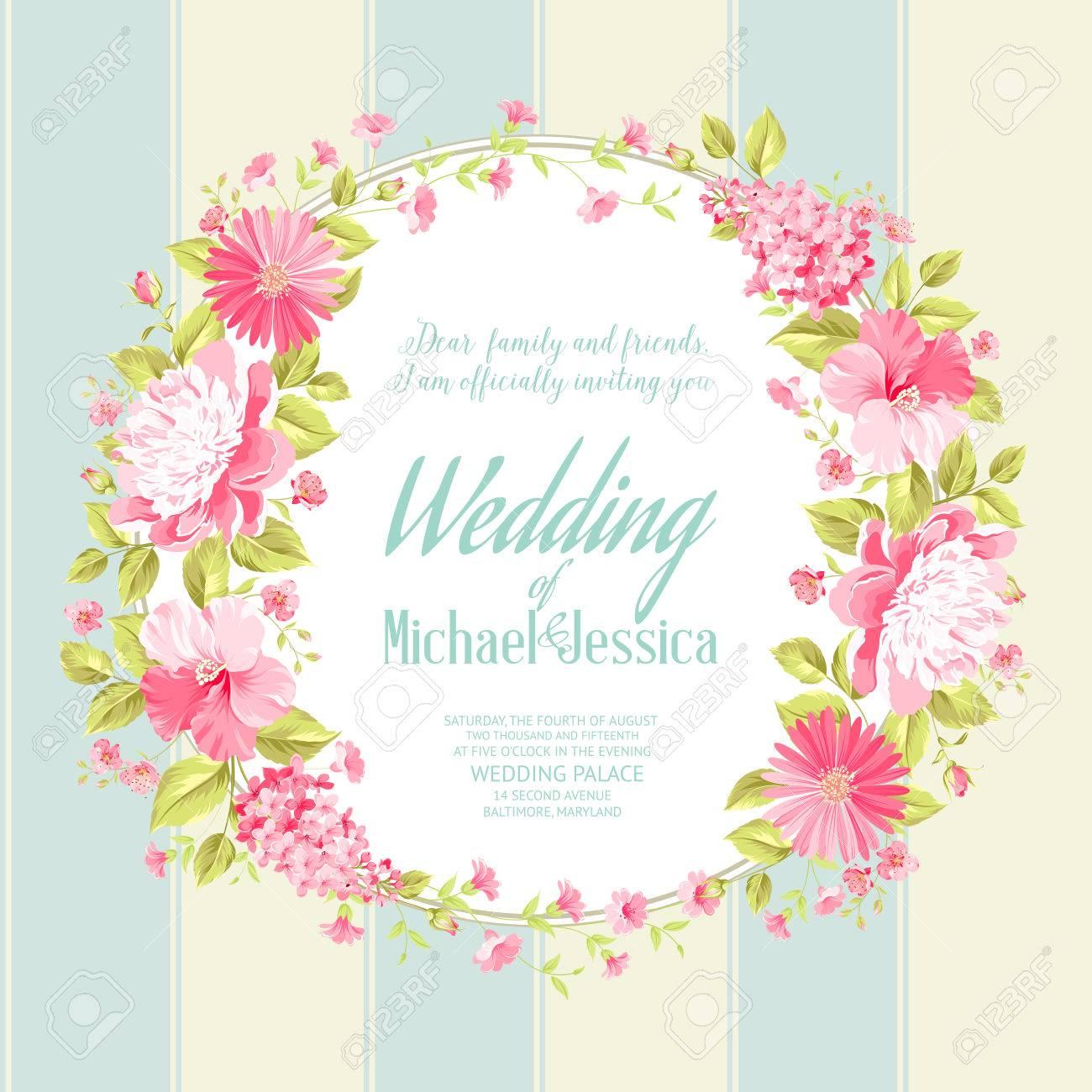 Hochzeitseinladungskarte Mit Eigenem Text, Vintage Floral Einladung Für  Frühling Oder Sommer Party. Vektor