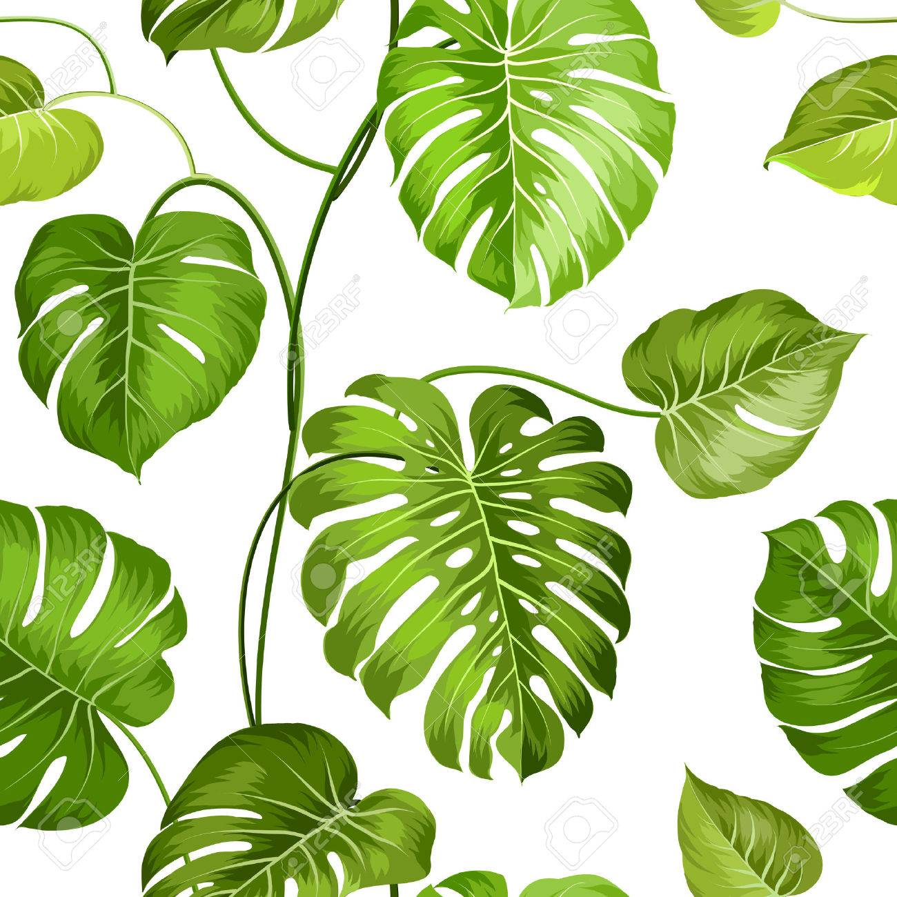 Topical palm leaves over white, seamless pattern. Vector illustration. - 40931749