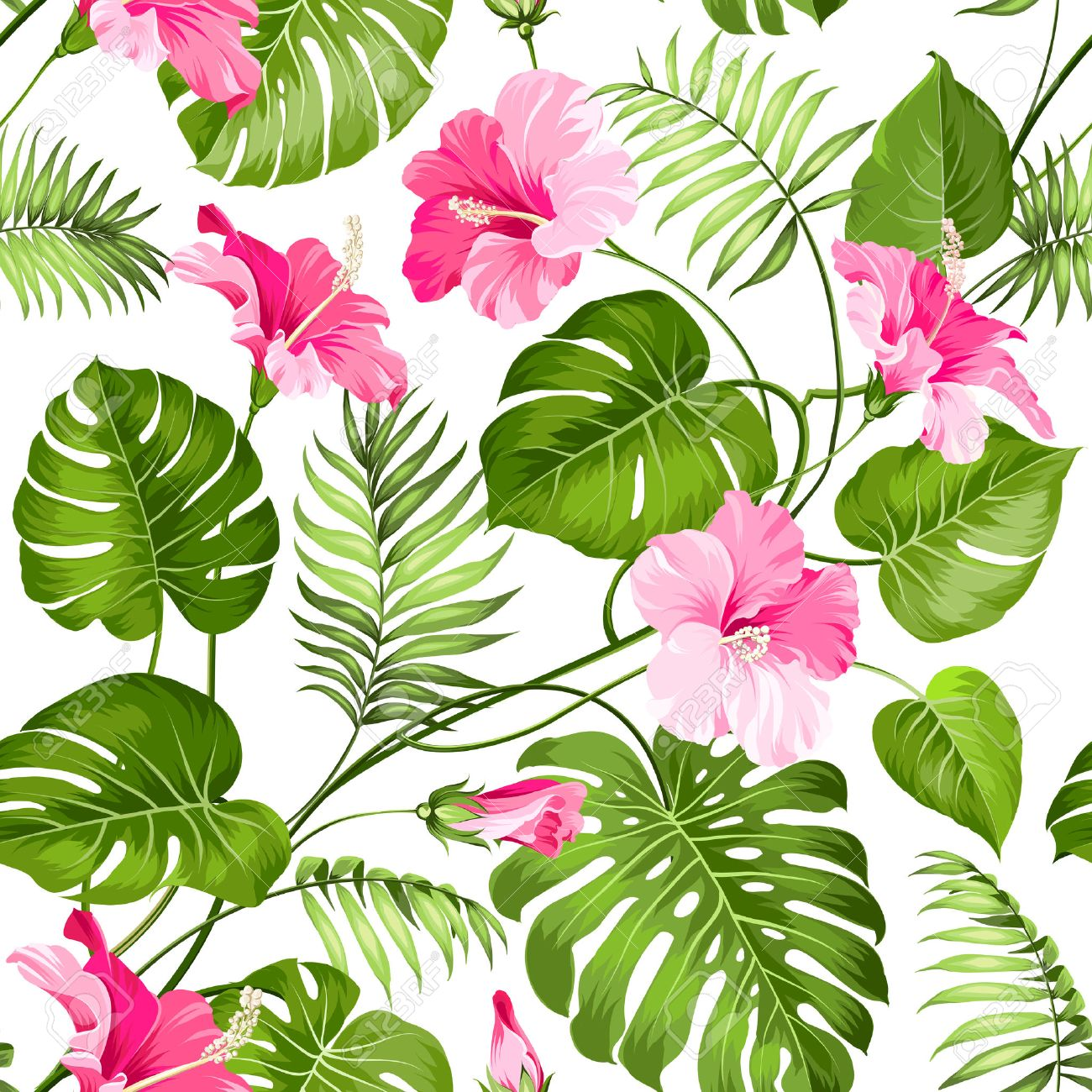 シームレスな南国の花 花のシームレスなパターン背景の花 ベクトルの図 のイラスト素材 ベクタ Image