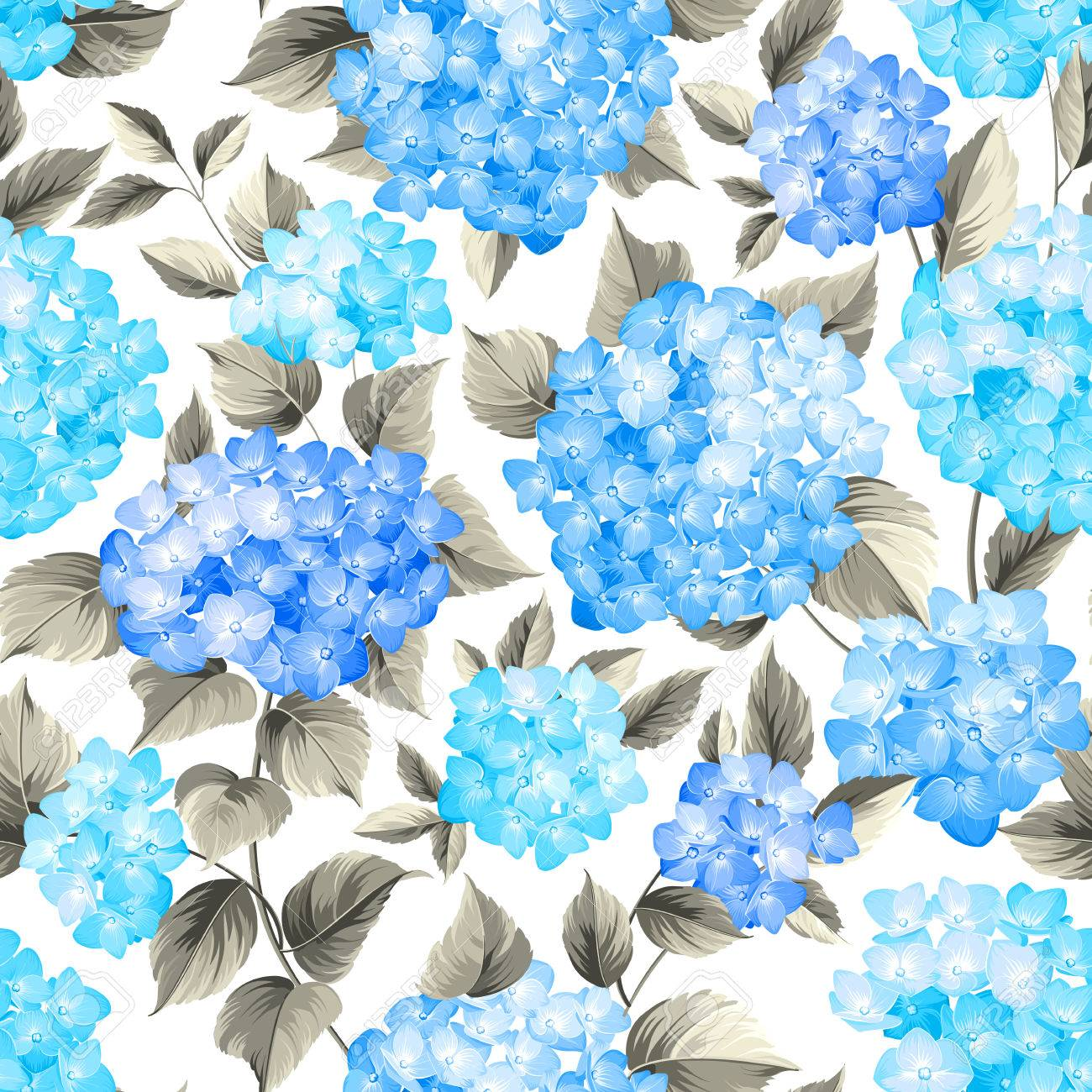 Purple Flower Hydrangea On Seamless Background Mop Head Pattern Beautiful Blue Flowers